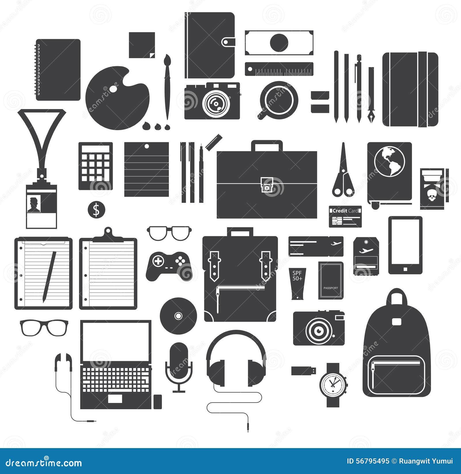 Ensemble d 39 ic ne d 39 quipement de bureau d 39 instrument de for Equipement de bureau