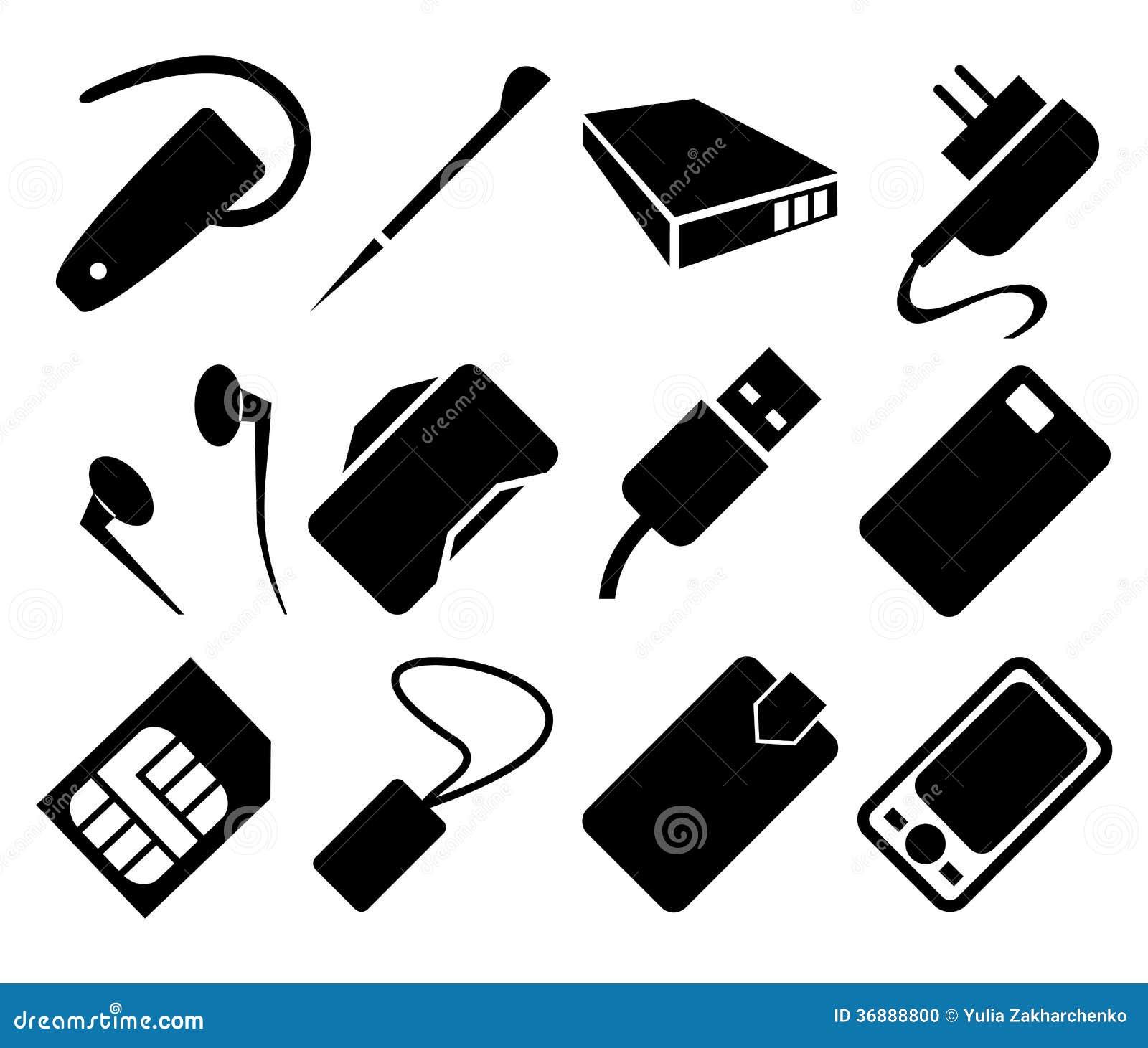 ensemble d 39 ic ne d 39 accessoires de t l phone portable illustration de vecteur illustration du. Black Bedroom Furniture Sets. Home Design Ideas