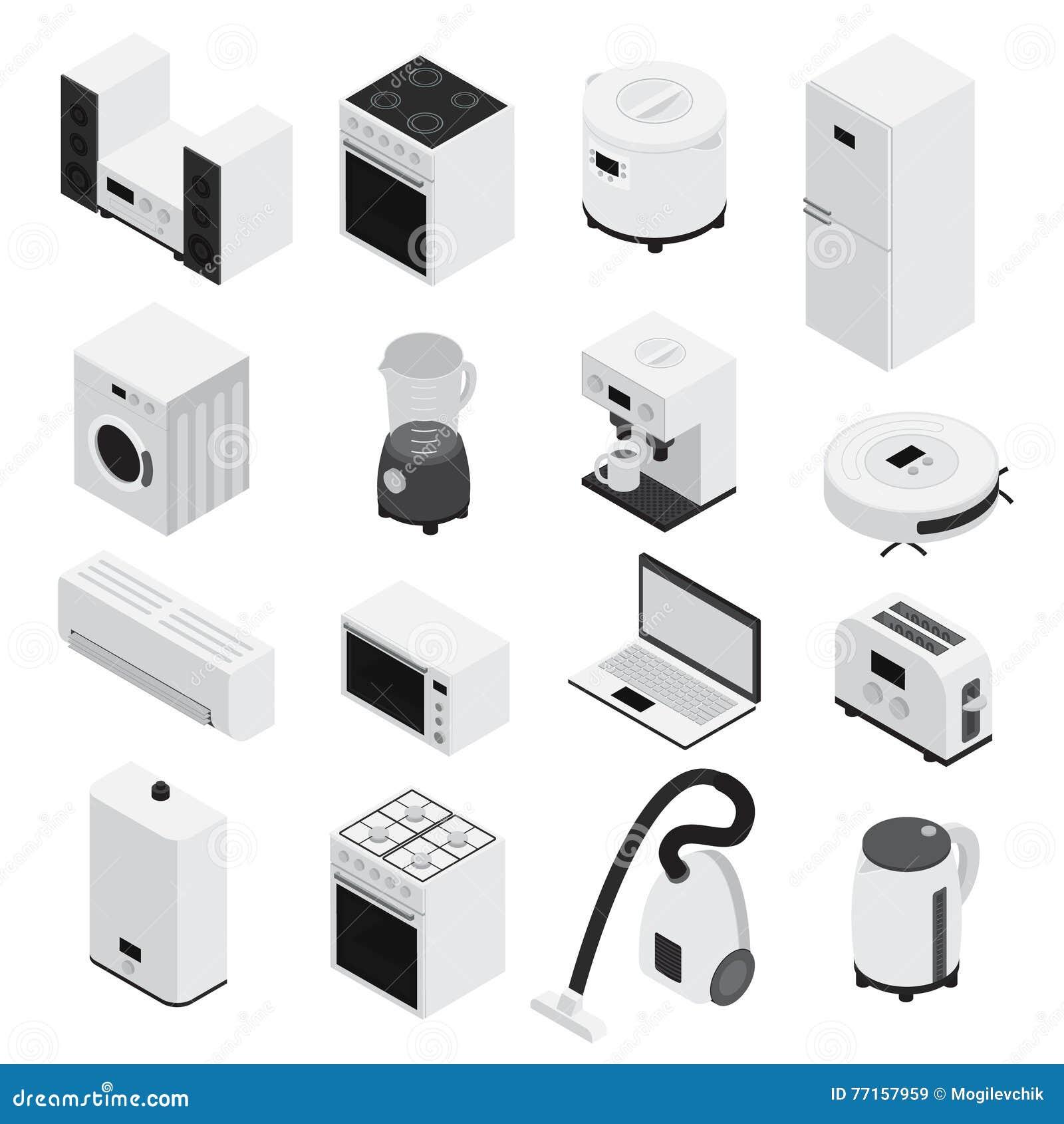 Ensemble d icône d appareils ménagers d Isometrics