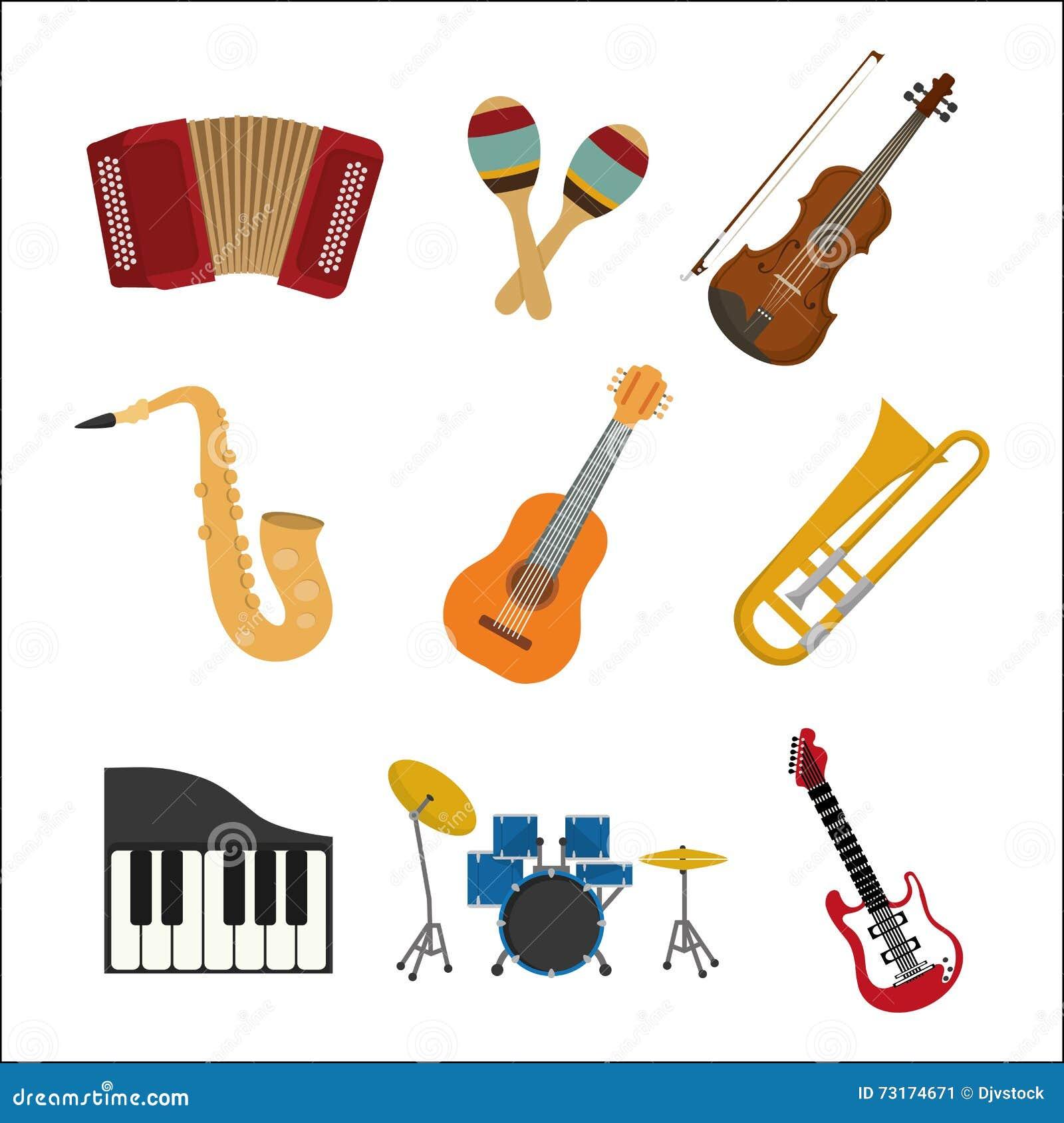 Hervorragend Ensemble D'icône D'instrument De Musique Dessin De Vecteur  XX73