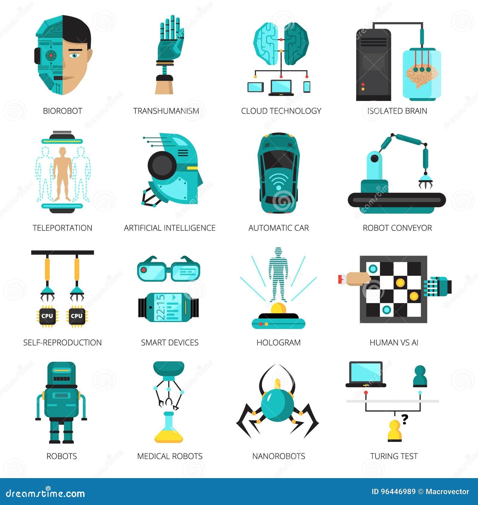 Ensemble d icône d intelligence artificielle