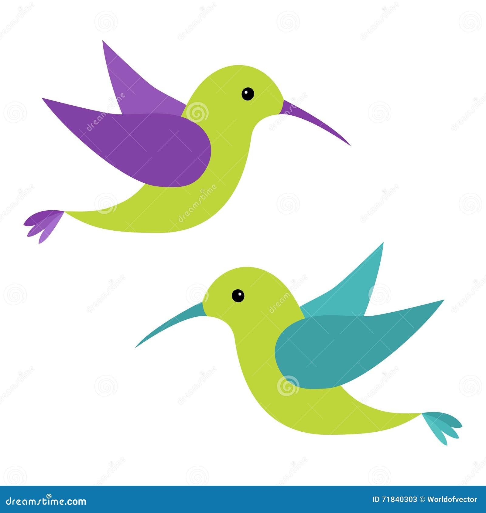 Ensemble d 39 ic ne d 39 oiseau de vol de colibri personnage de for Oiseau par la couleur