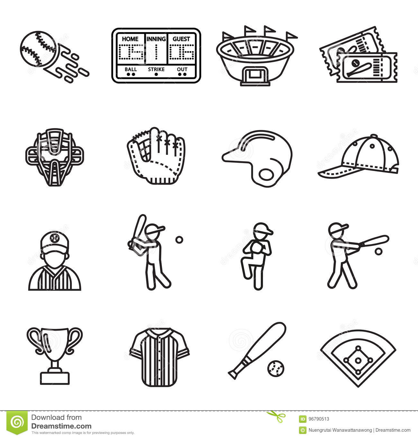 Ensemble d icône de base-ball