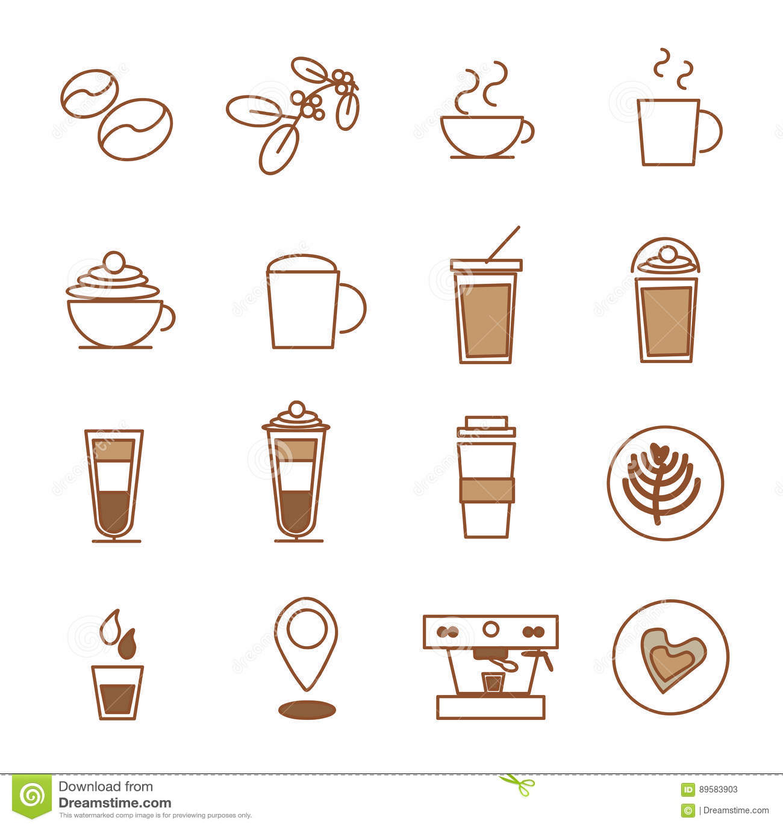 Ensemble d icône de café, café de grain de café