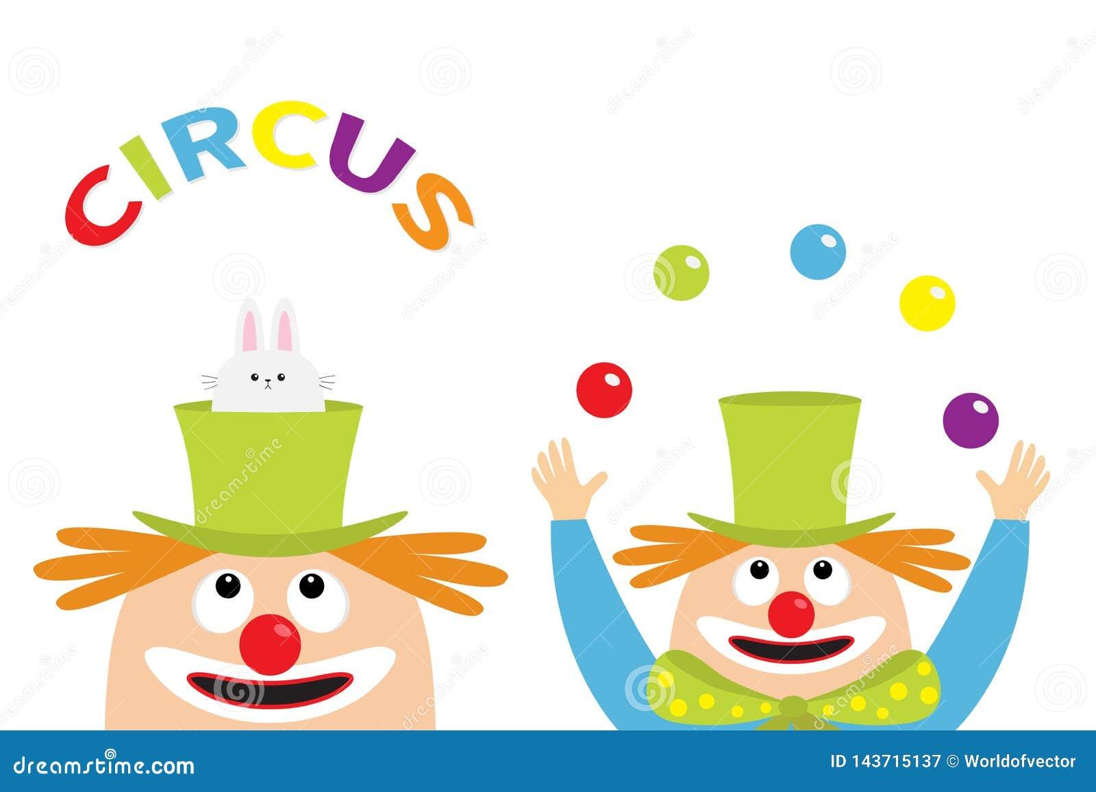 Ensemble D Ic Ne De Cirque Tete De Visage De Jongleur De Clown