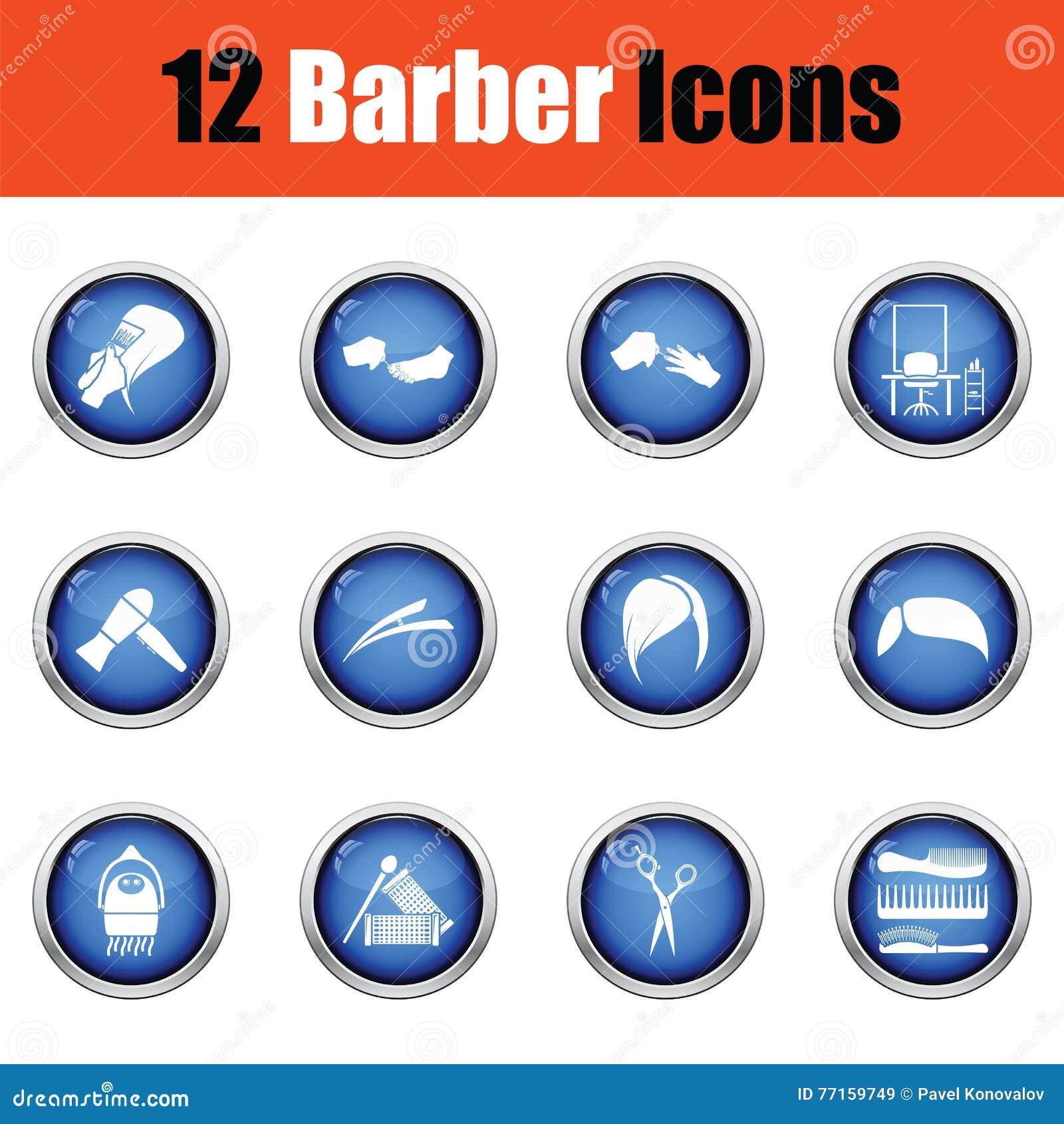 Ensemble d icône de coiffeur