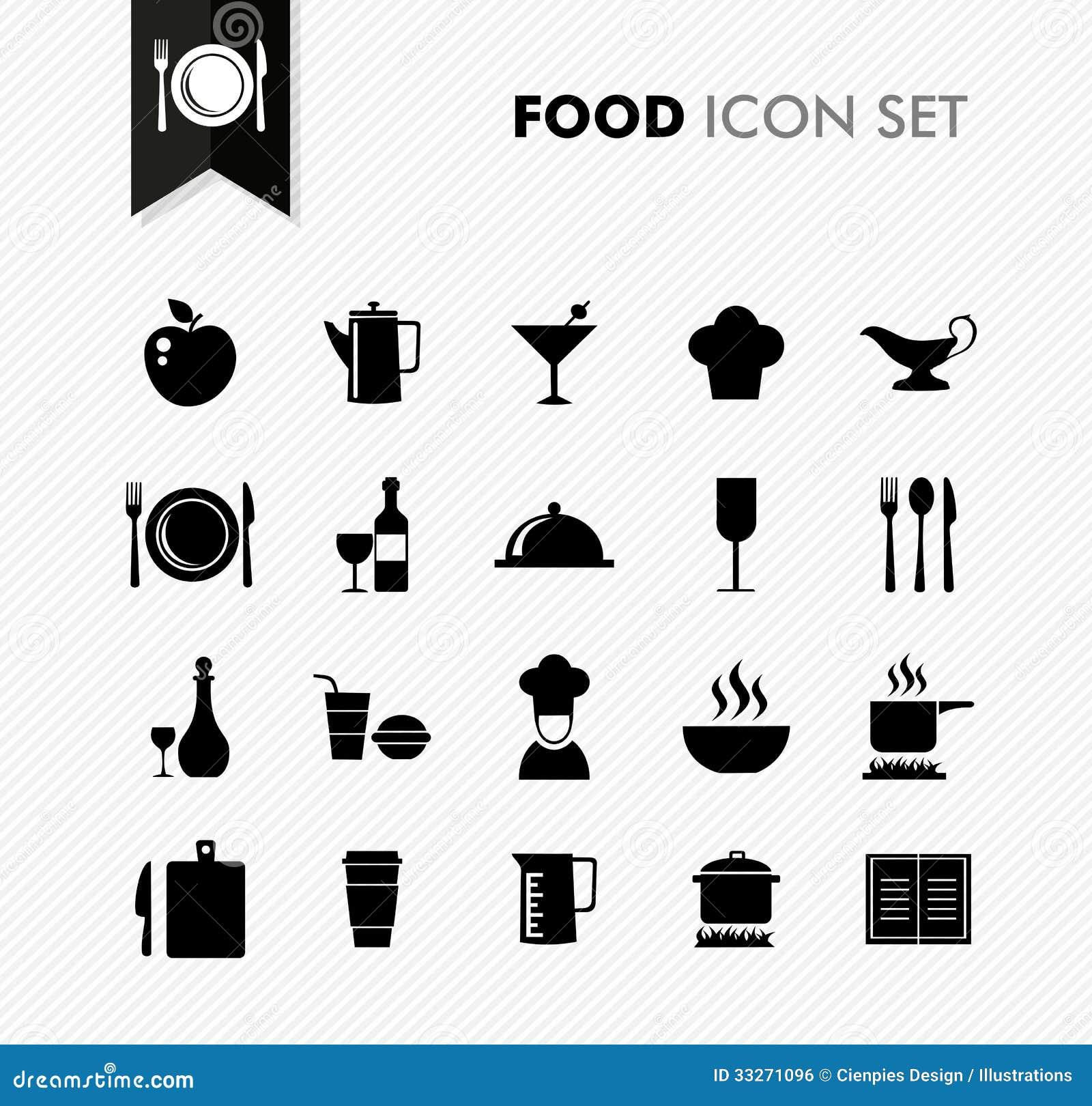 Ensemble d icône de menu de restaurant de nourriture fraîche.