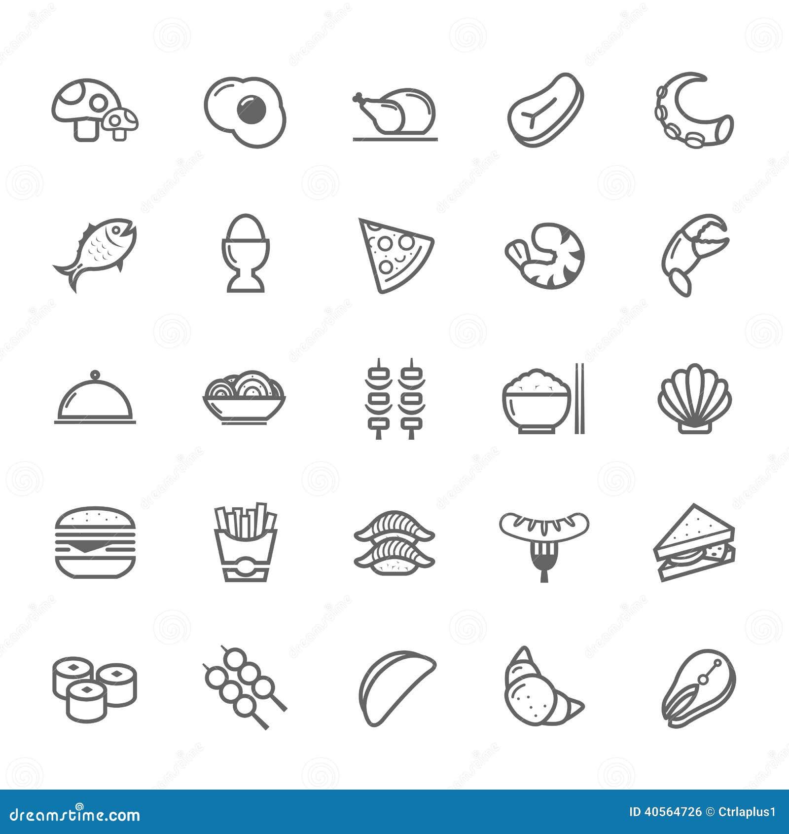 Ensemble d icône de nourriture de course d ensemble