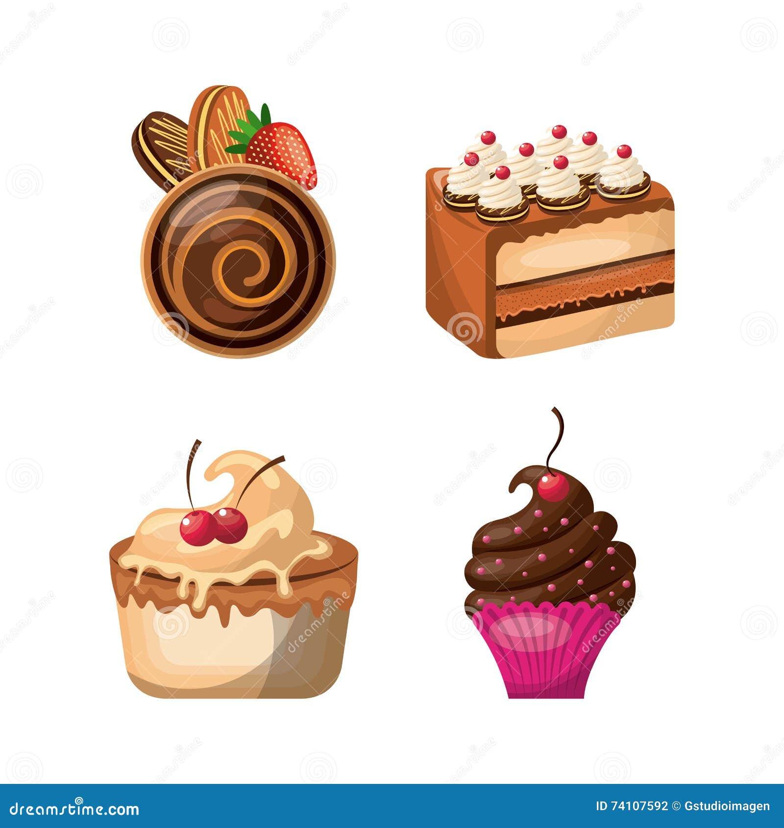 Ensemble d 39 ic ne de p tisserie conception de dessert - Dessert dessin ...