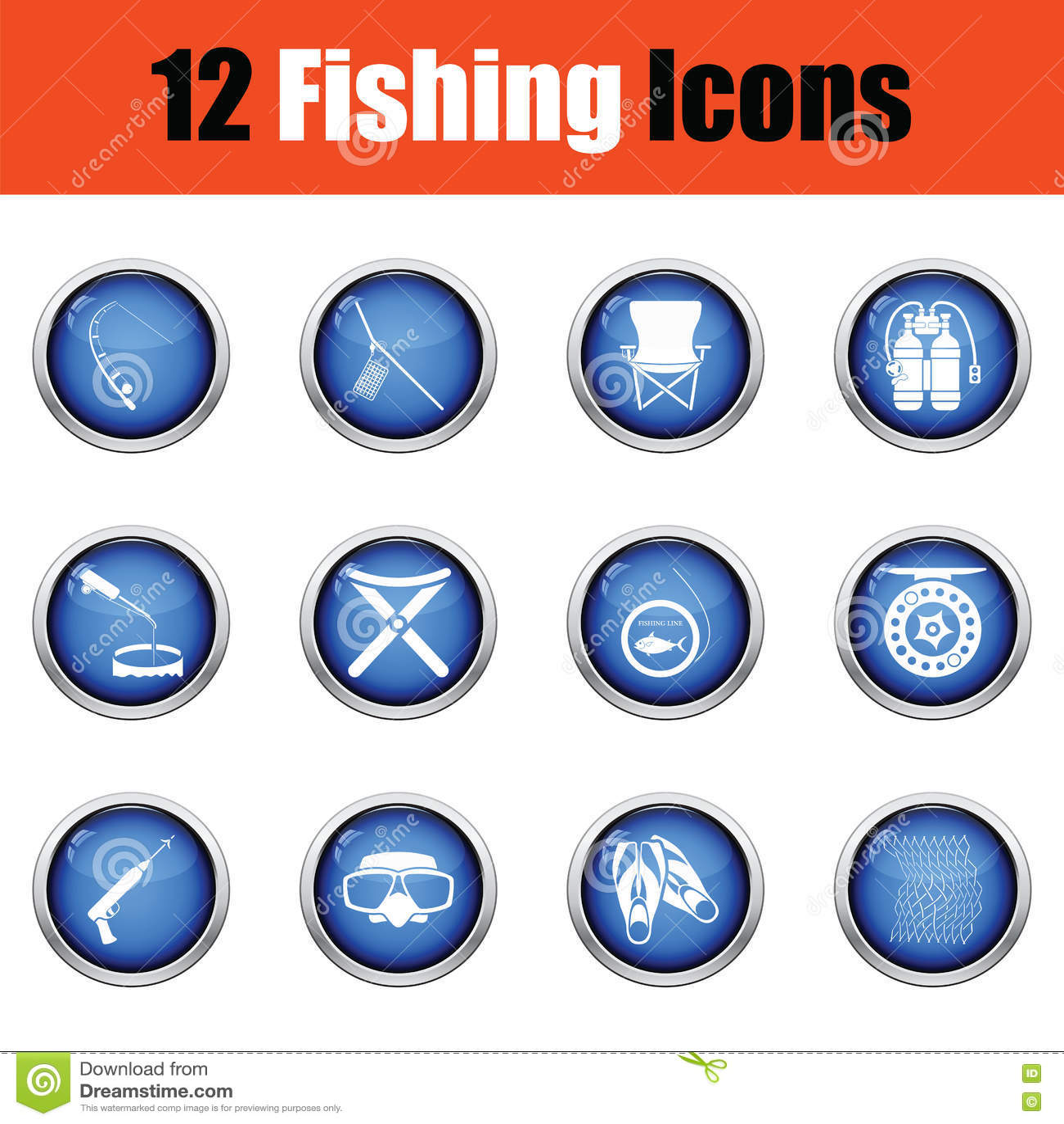 Ensemble d icône de pêche
