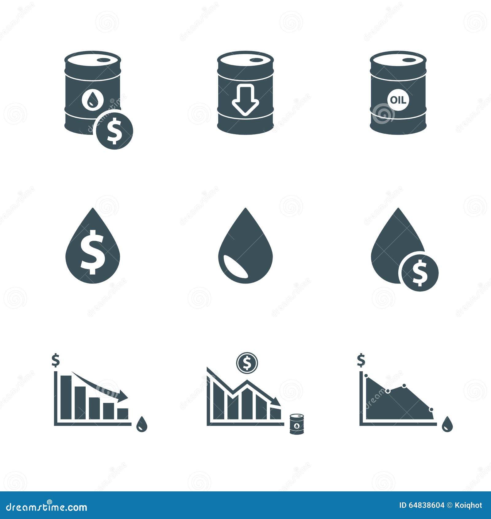 Ensemble d icône de prix du pétrole