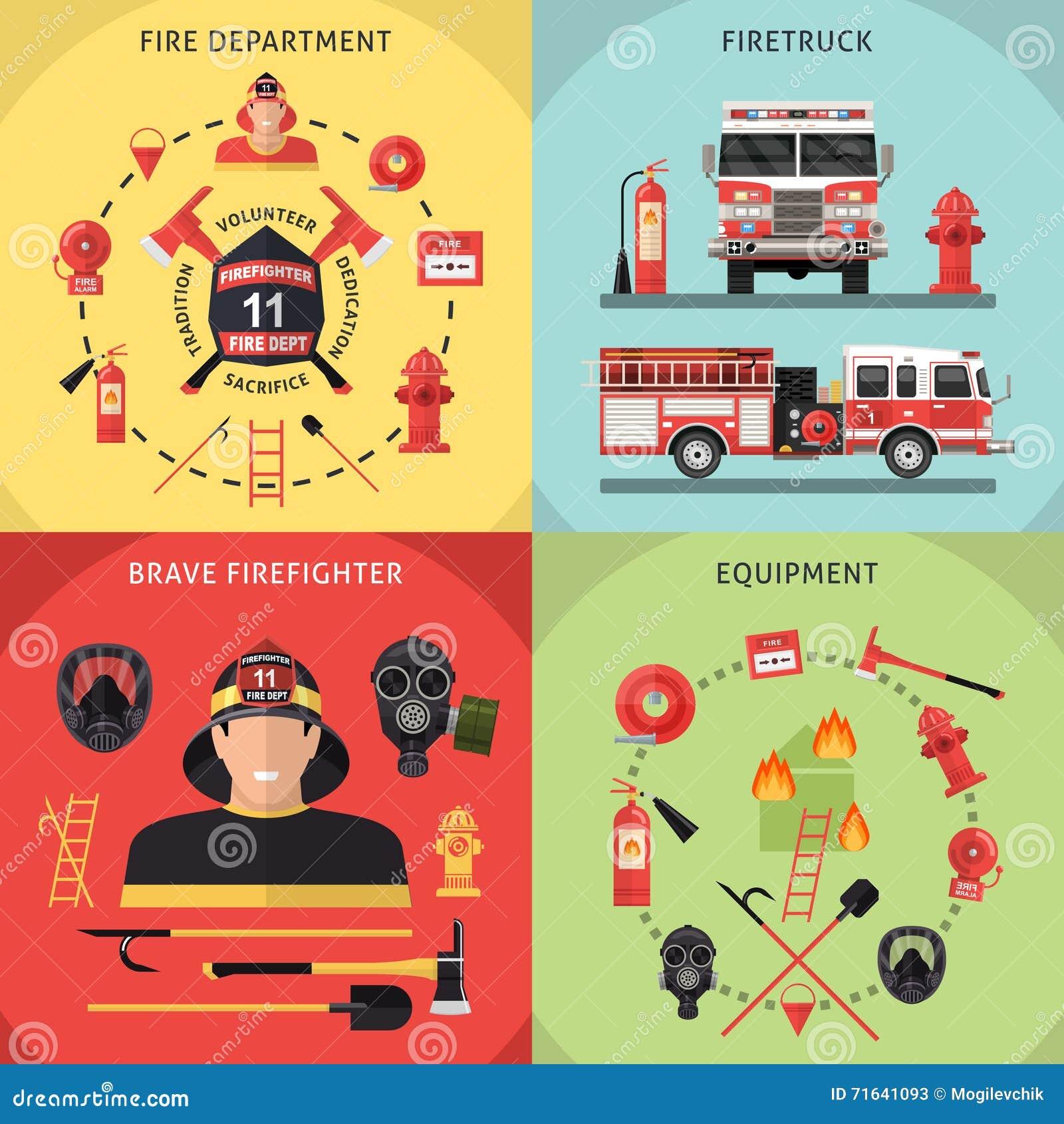 Ensemble d icône de sapeur-pompier