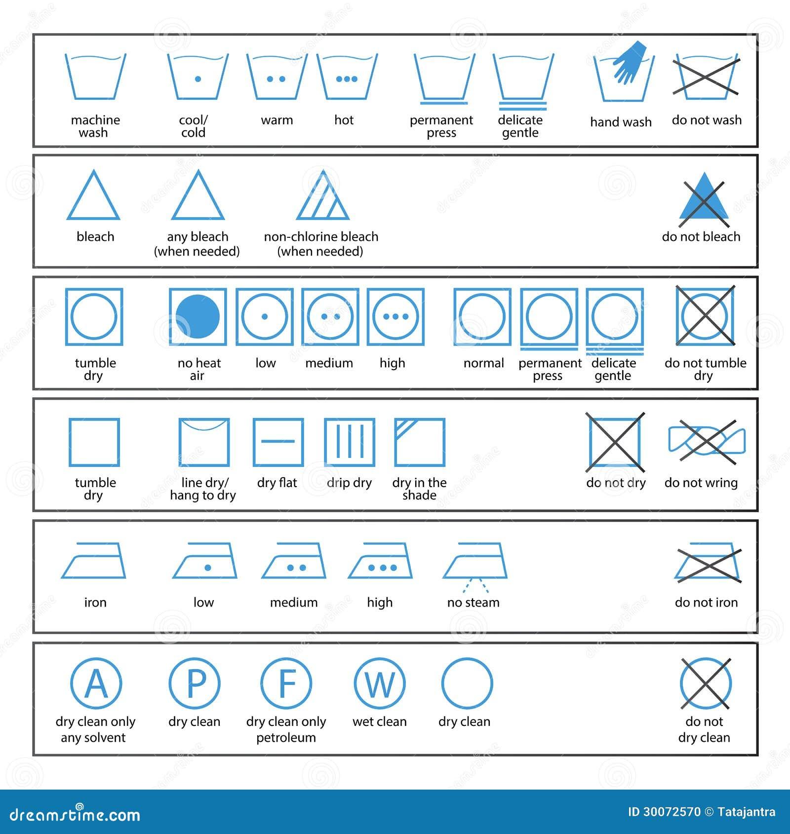 symboles de soin de textile photo stock image 30072570. Black Bedroom Furniture Sets. Home Design Ideas