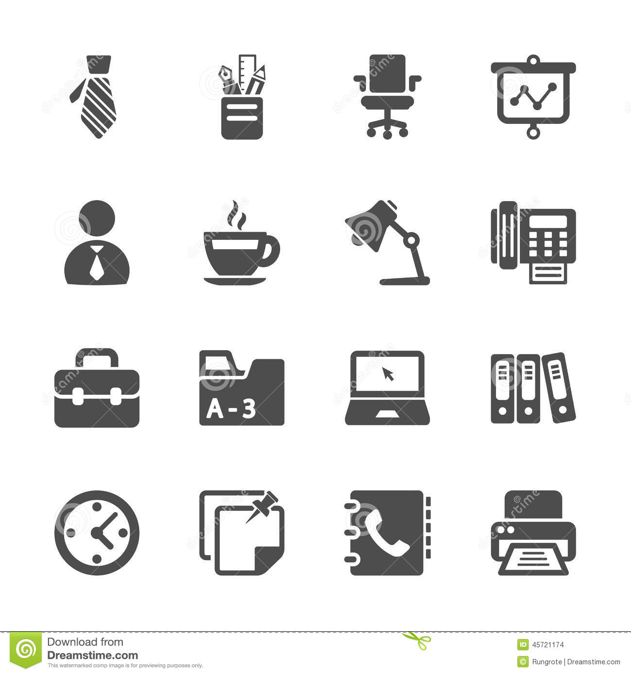 Ensemble d 39 ic ne de travail de bureau vecteur eps10 photo stock image 45721174 for Photos gratuites travail bureau