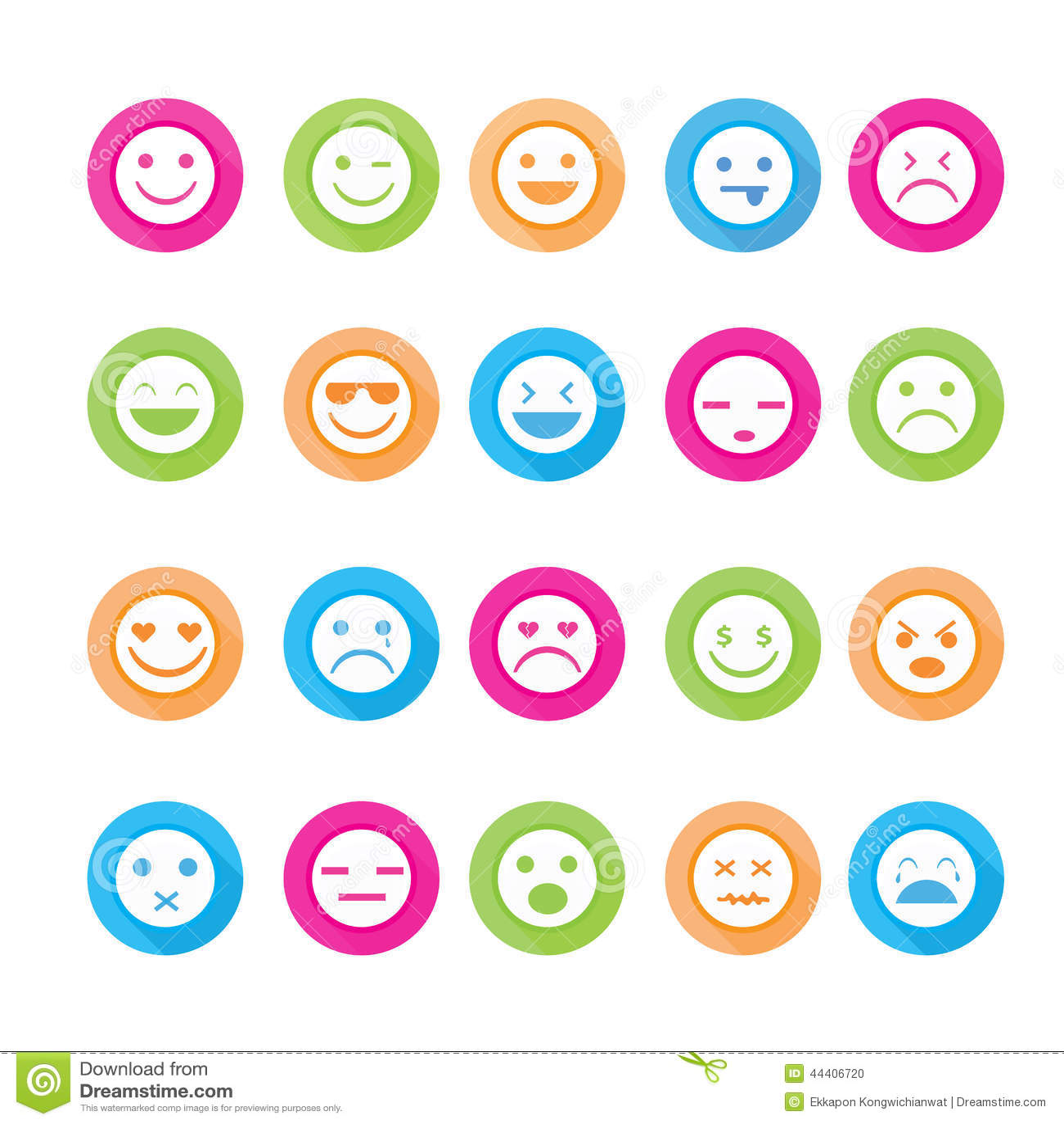 Ensemble d icône de visages de smiley
