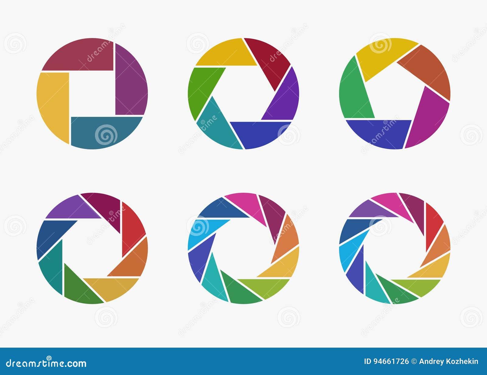 Ensemble d icônes colorées d ouverture d objectif de caméra