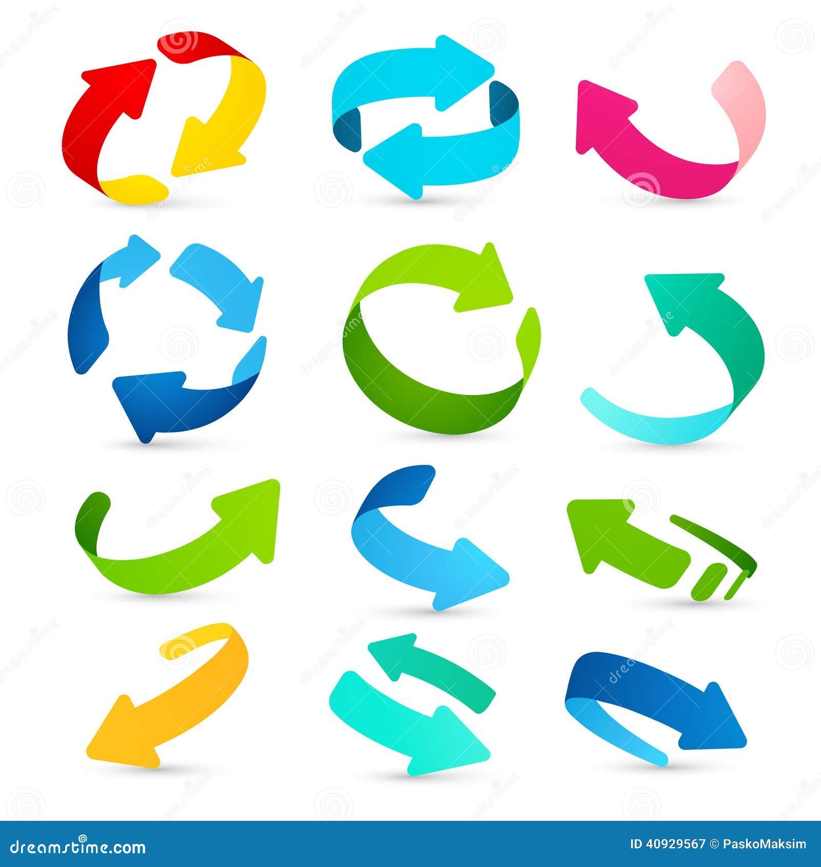 Ensemble d icônes colorées de flèches Vecteur