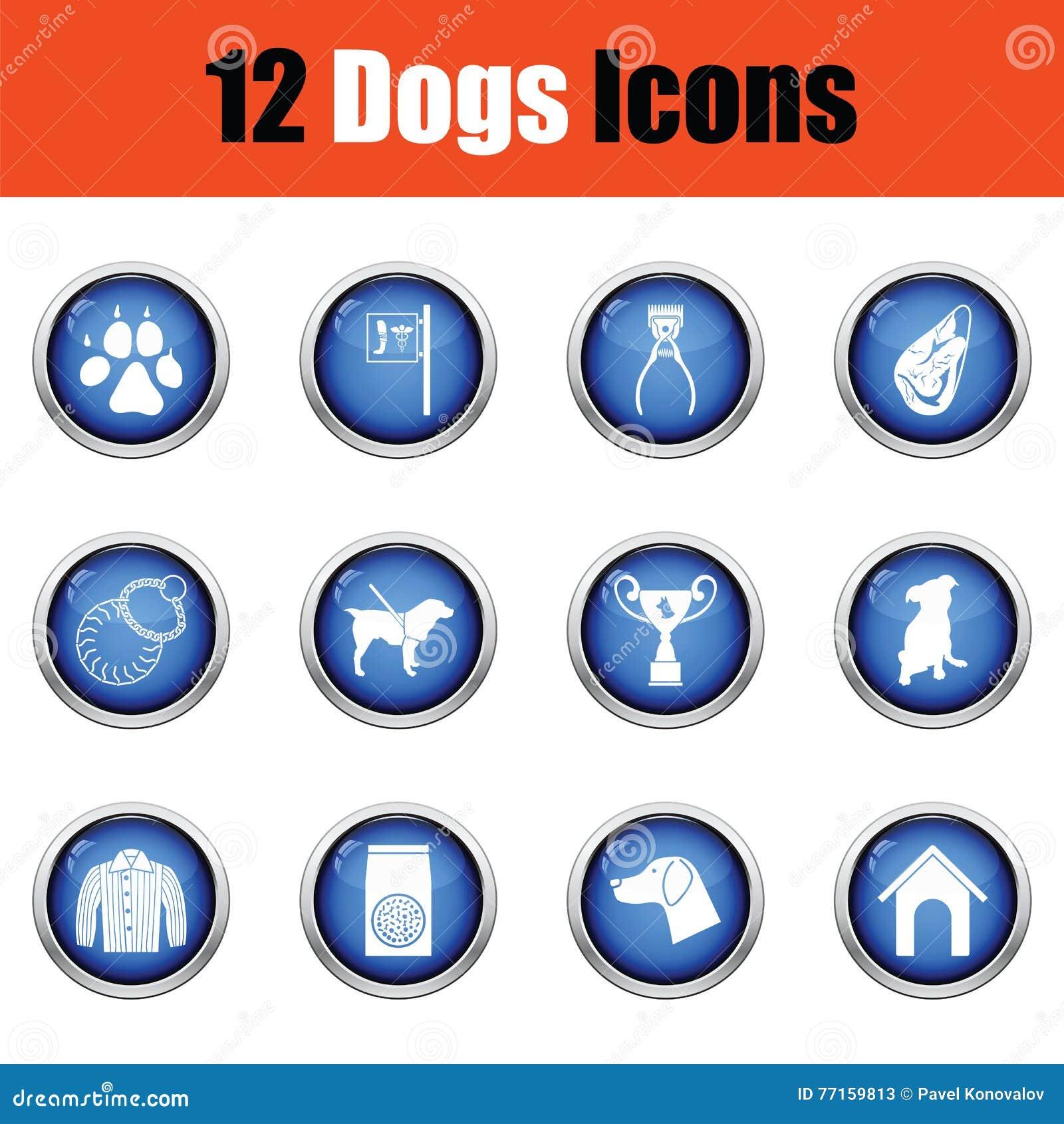 Ensemble d icônes d élevage de chien