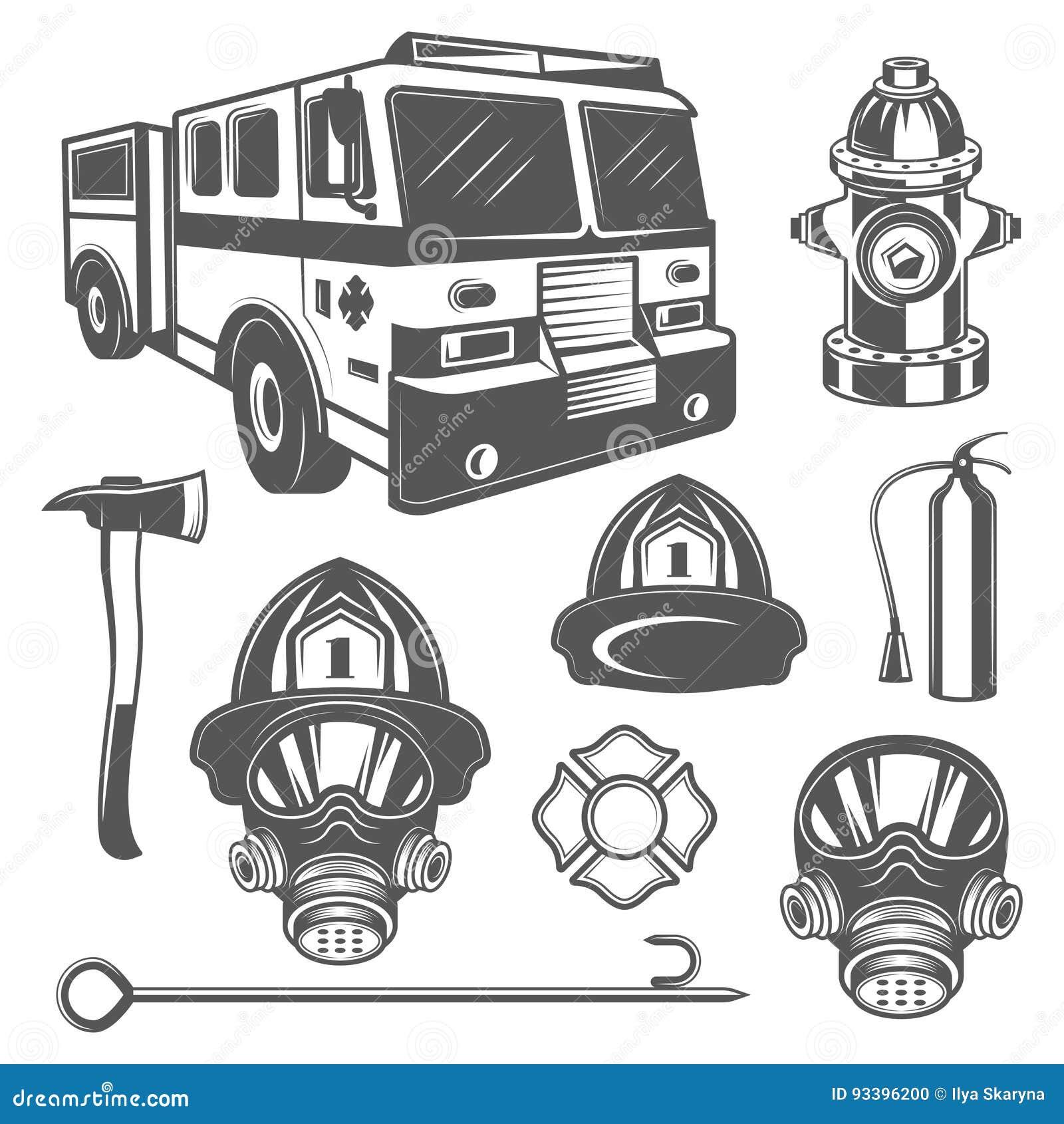Ensemble d icônes d équipement de sapeur-pompier et de feu de vintage dans le style monochrome