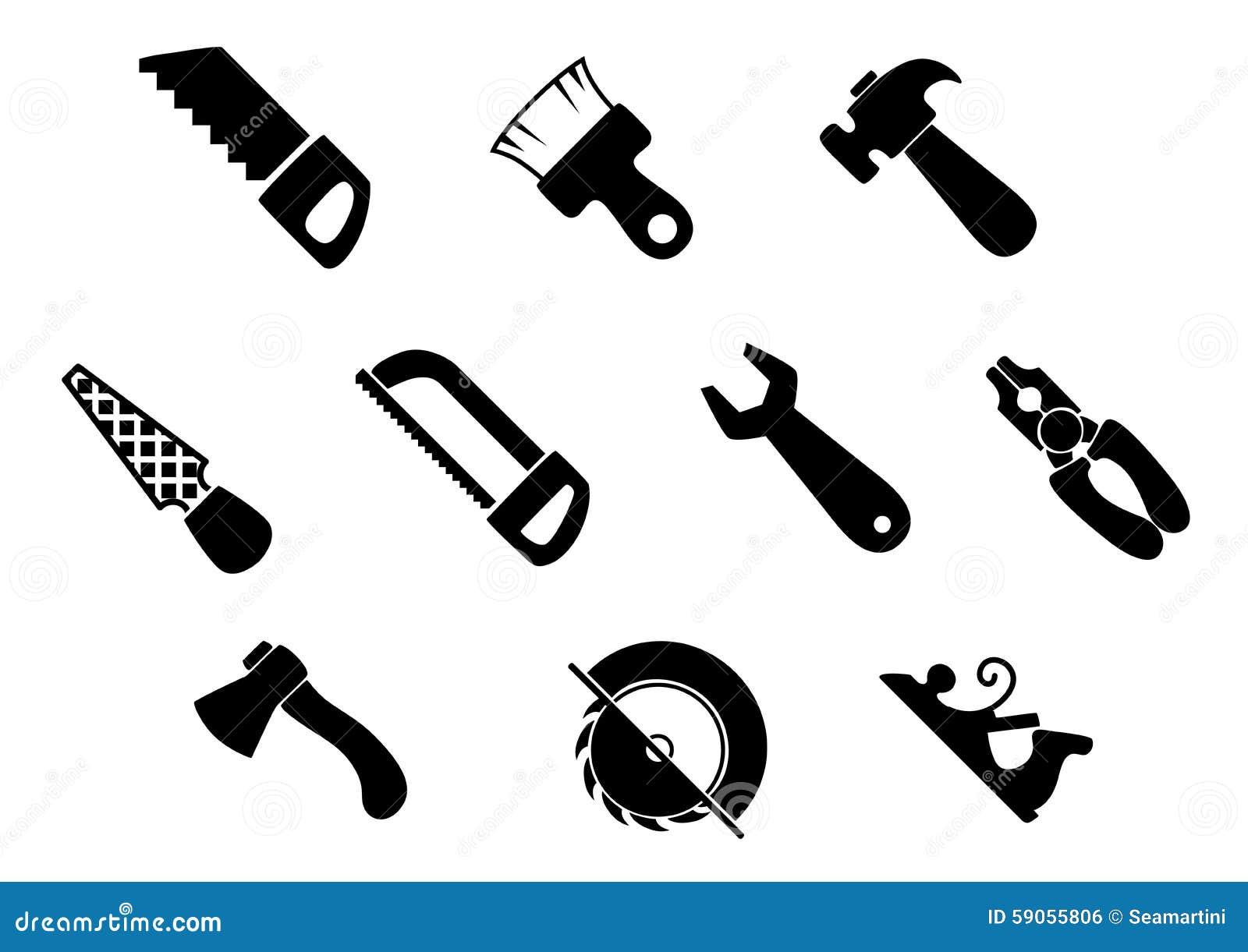 ensemble d 39 ic nes d 39 isolement d 39 outils de bricolage illustration de vecteur image 59055806. Black Bedroom Furniture Sets. Home Design Ideas