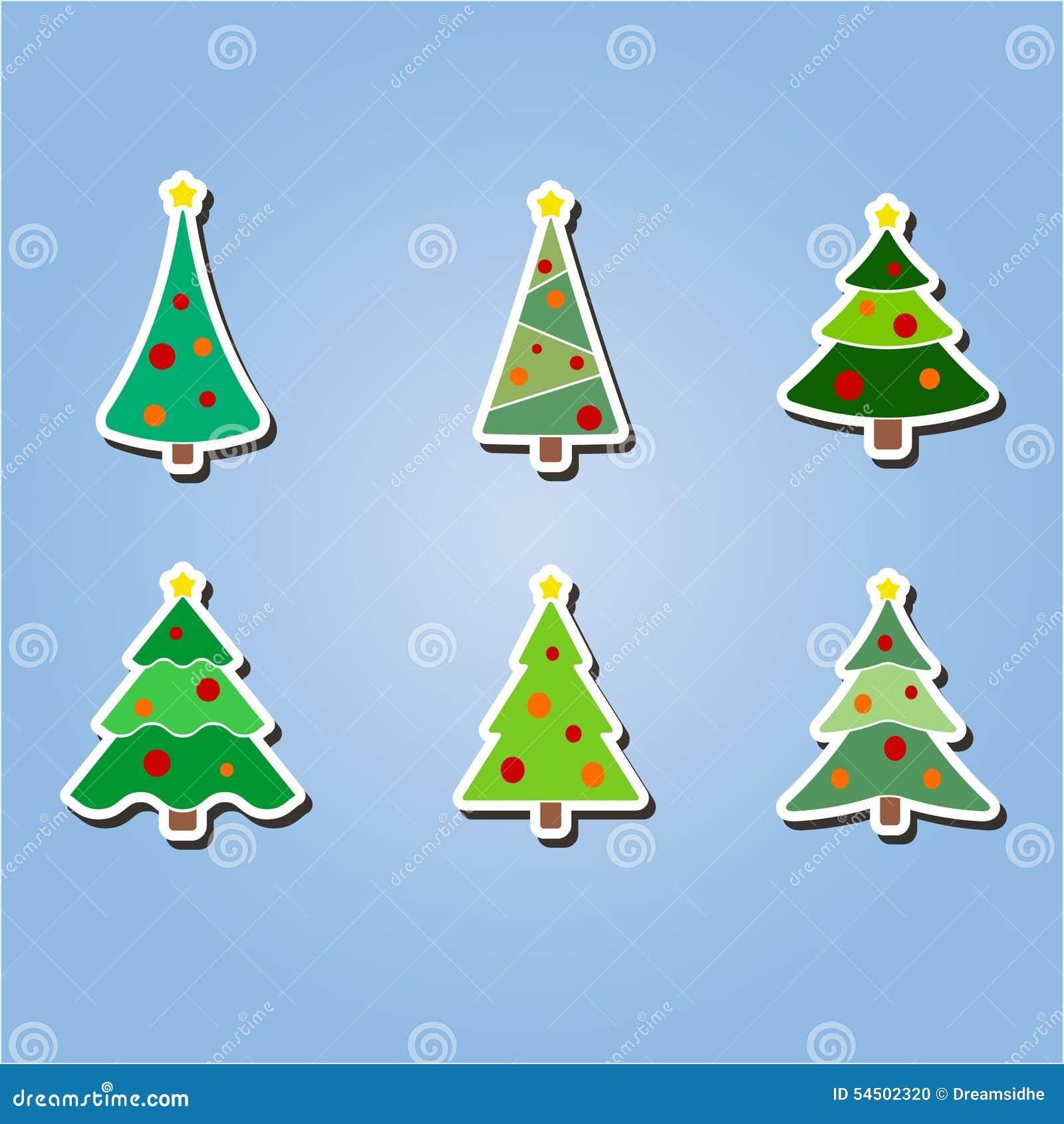 Ensemble d icônes de couleur avec des arbres de Noël