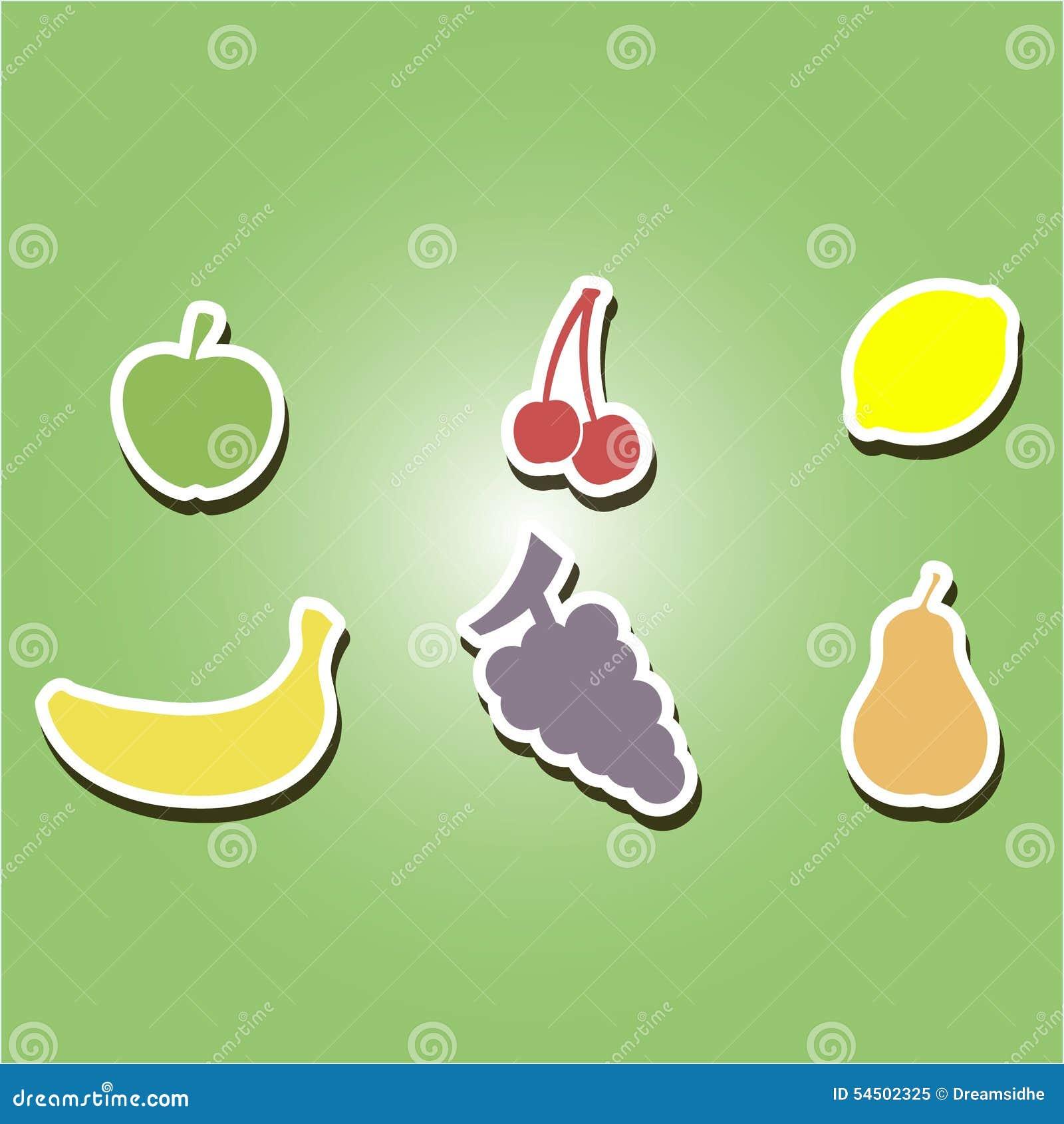 Ensemble d icônes de couleur avec des fruits