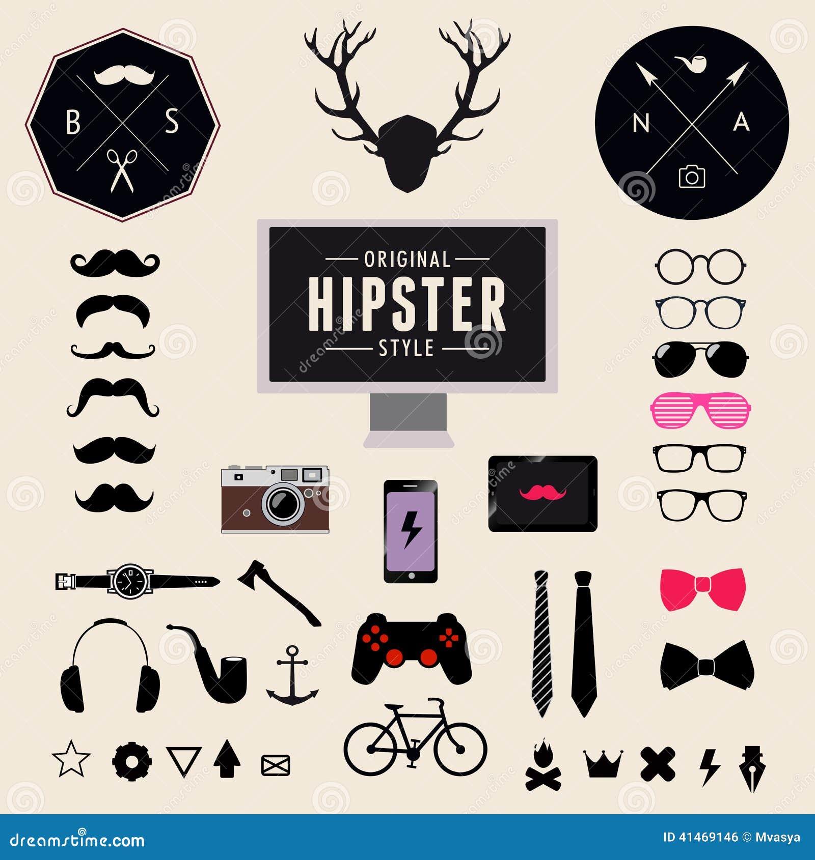 Ensemble d icônes de hippie de conception dénommées par vintage Fond d illustration de vecteur