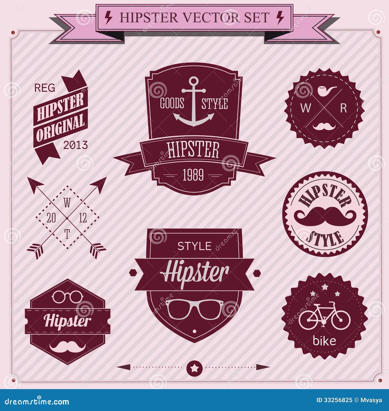 Ensemble d icônes de hippie de conception dénommées par vintage. Fond de vecteur