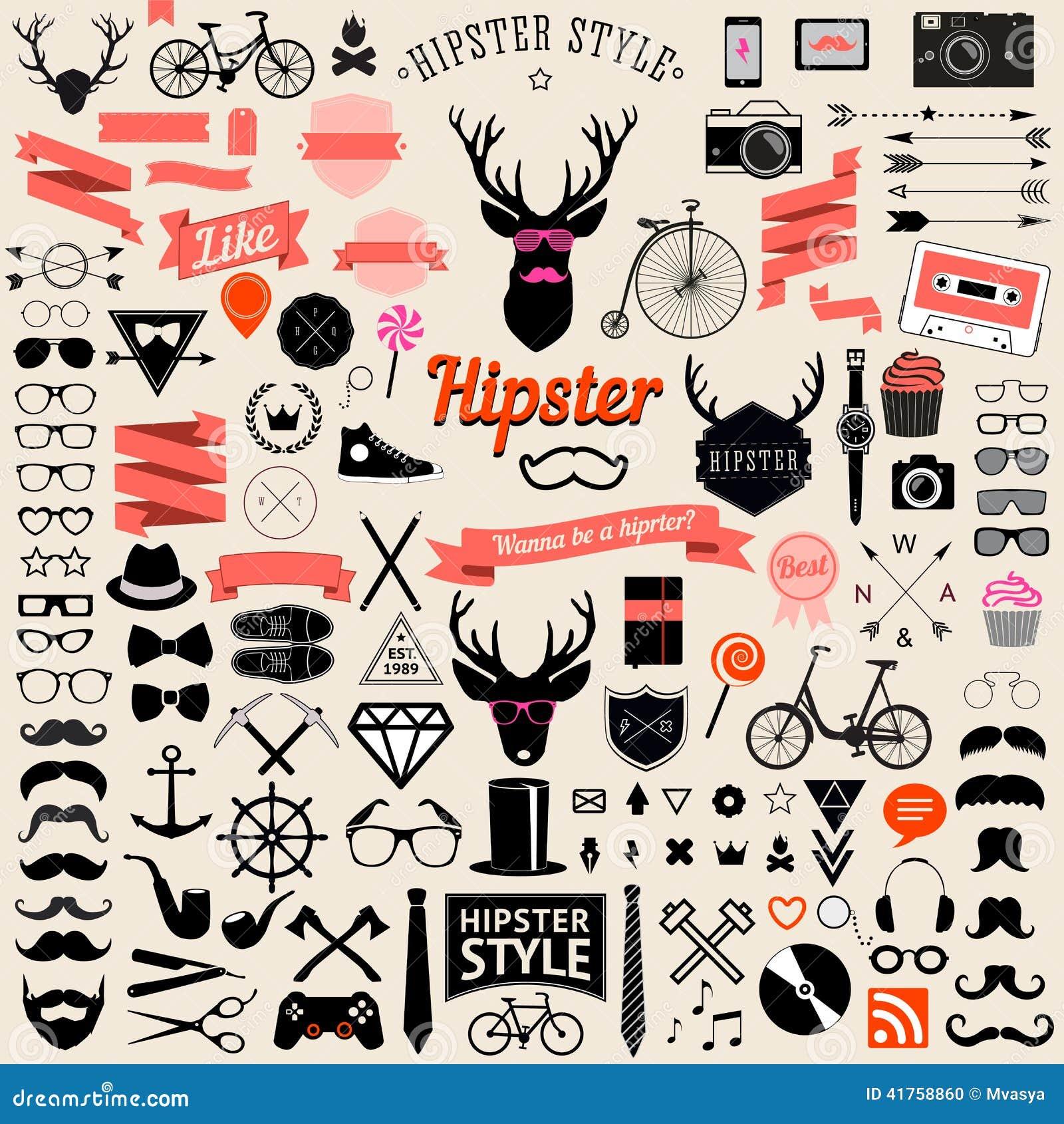 Ensemble d icônes de hippie de conception dénommées par vintage Signes de vecteur et calibres de symboles