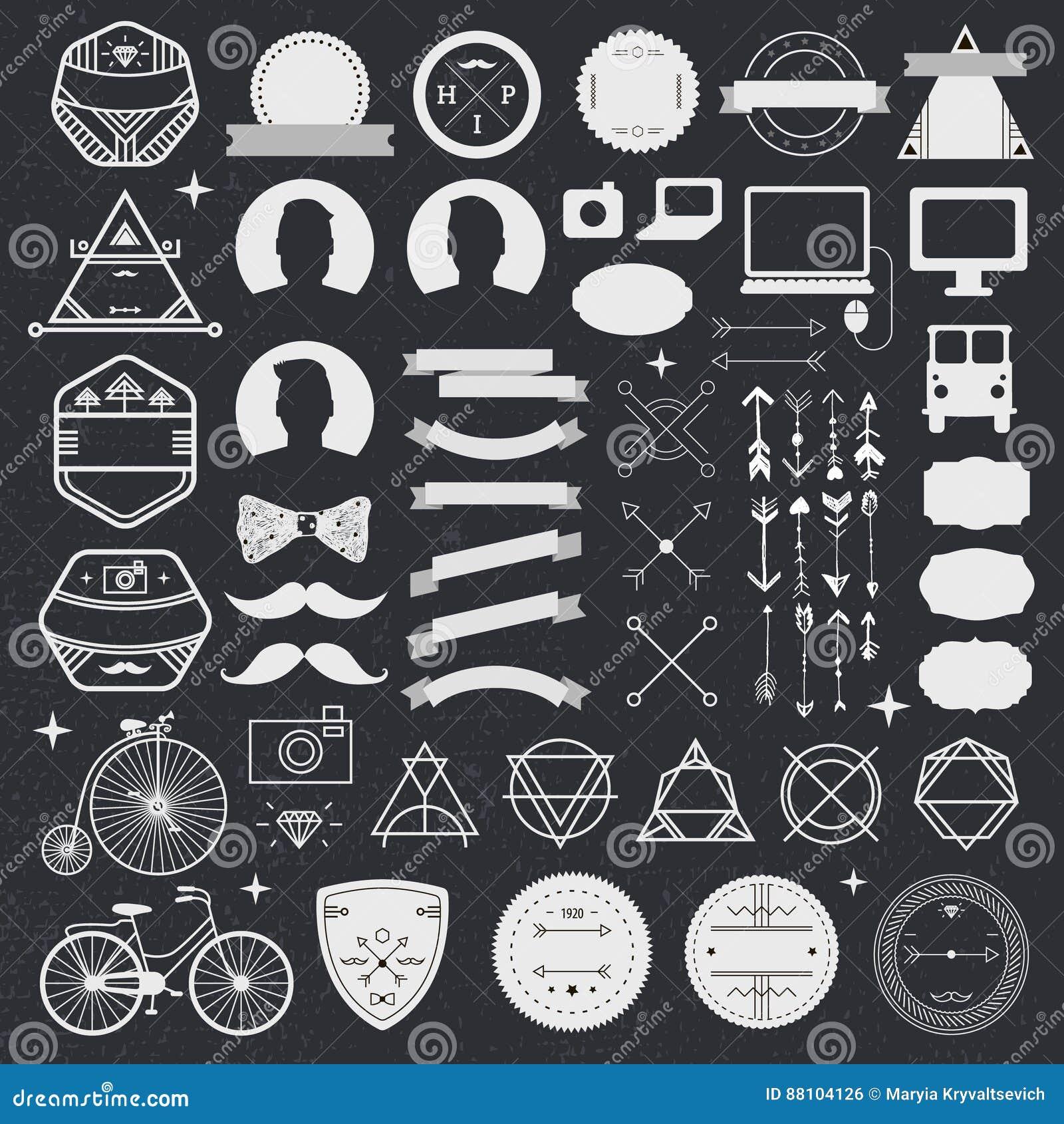 Ensemble d icônes de hippie de conception dénommées par vintage Signes de vecteur et calibres de symboles pour la conception télé