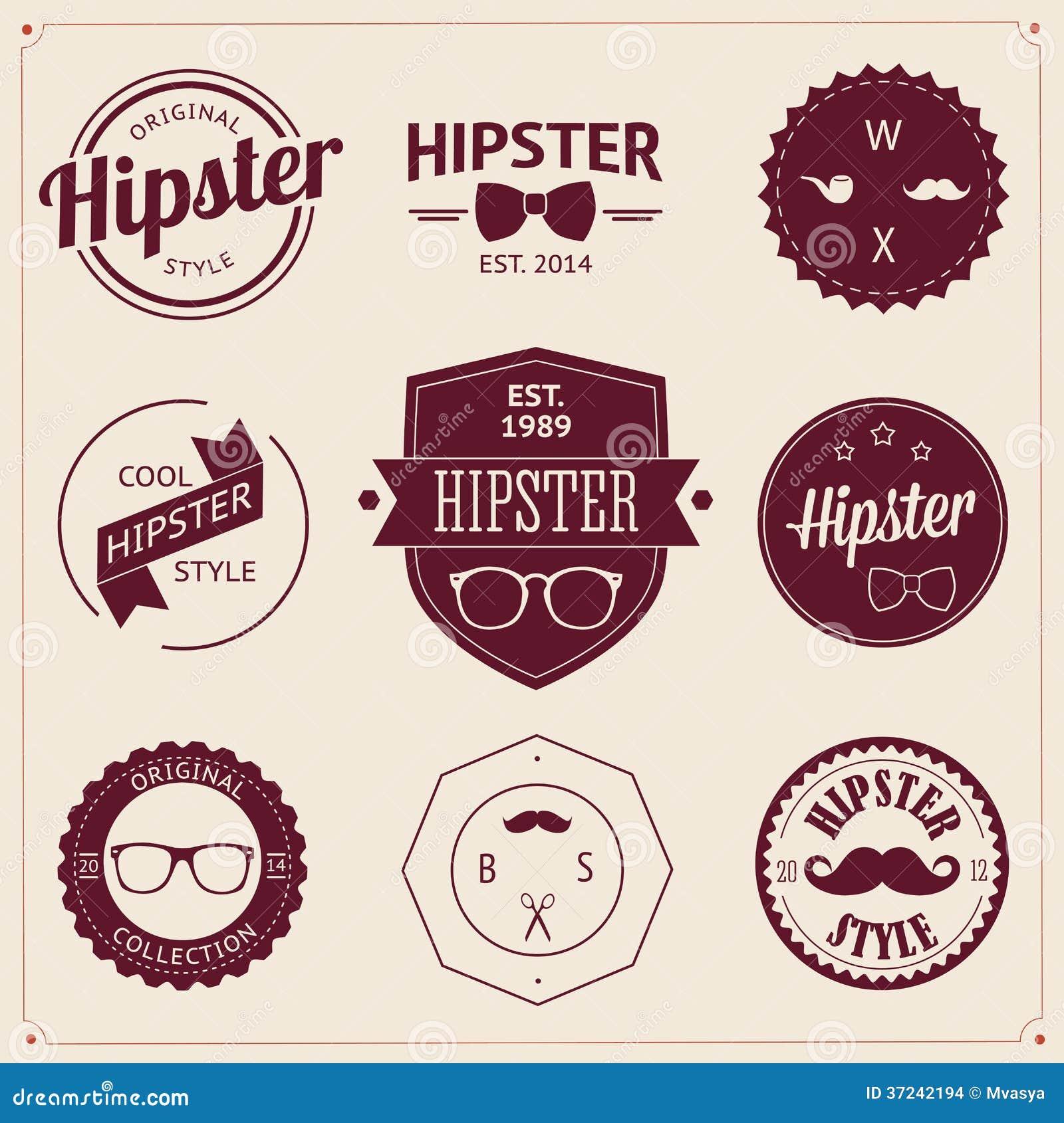 Ensemble d icônes de hippie de conception dénommées par vintage. Vecteur