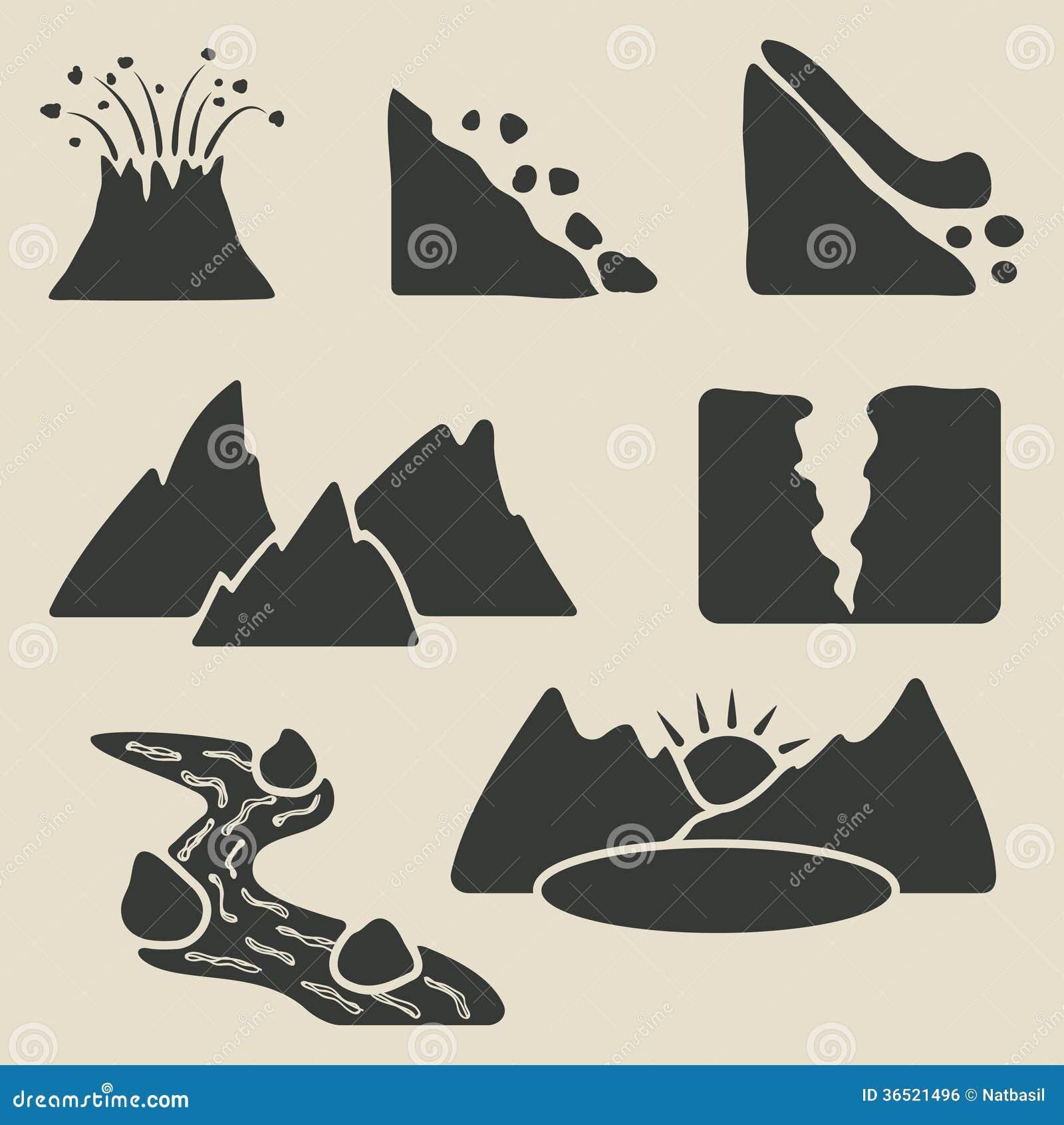 Ensemble d icônes de montagnes