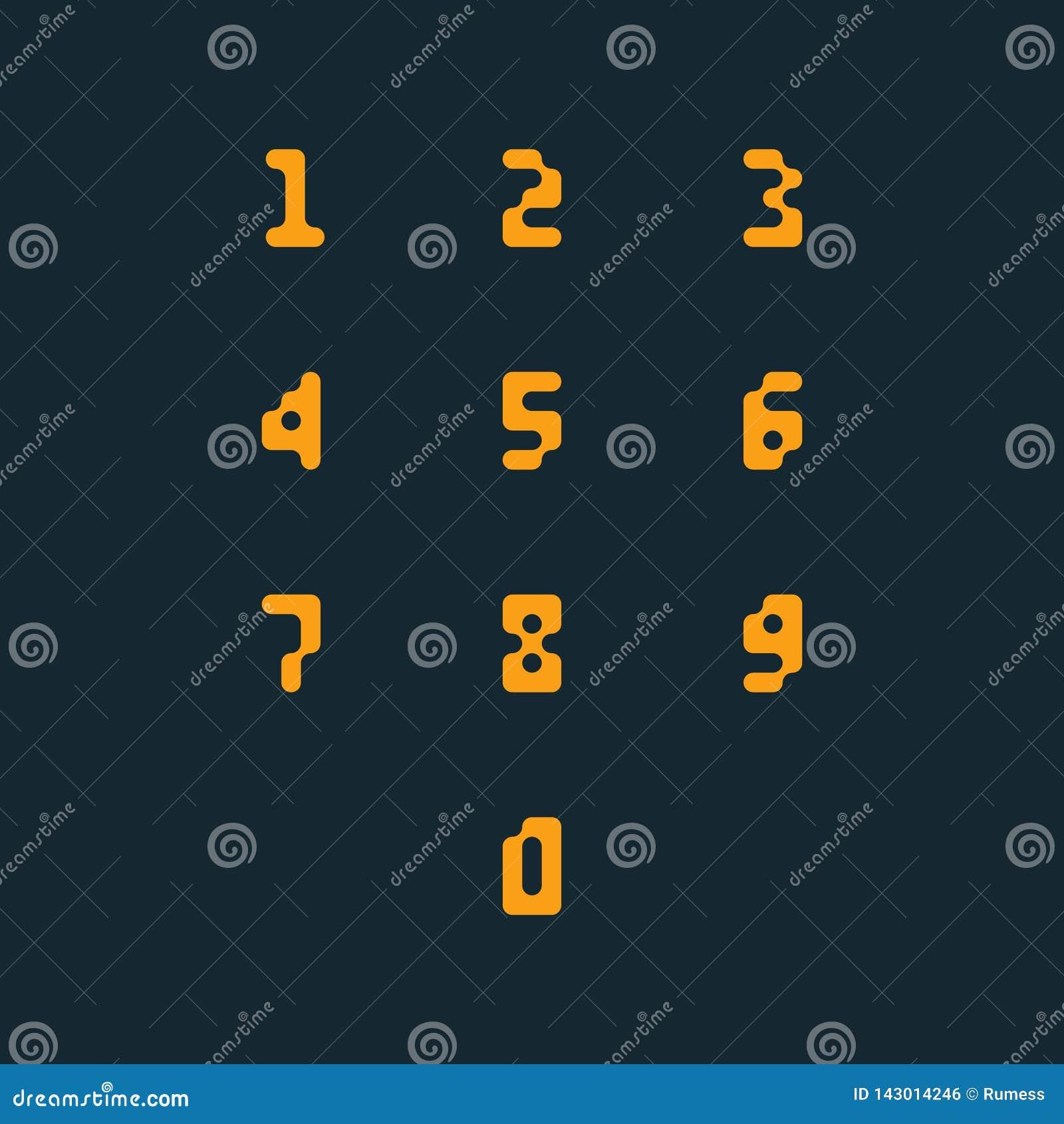 Ensemble d ic?nes de nombre 0-9 nombres de pixel Illustration de vecteur