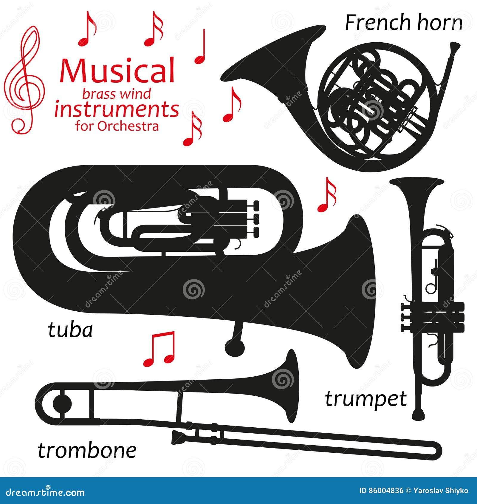 Ensemble d icônes de silhouette Instruments de vent en laiton musicaux pour l orchestre Illustration de vecteur