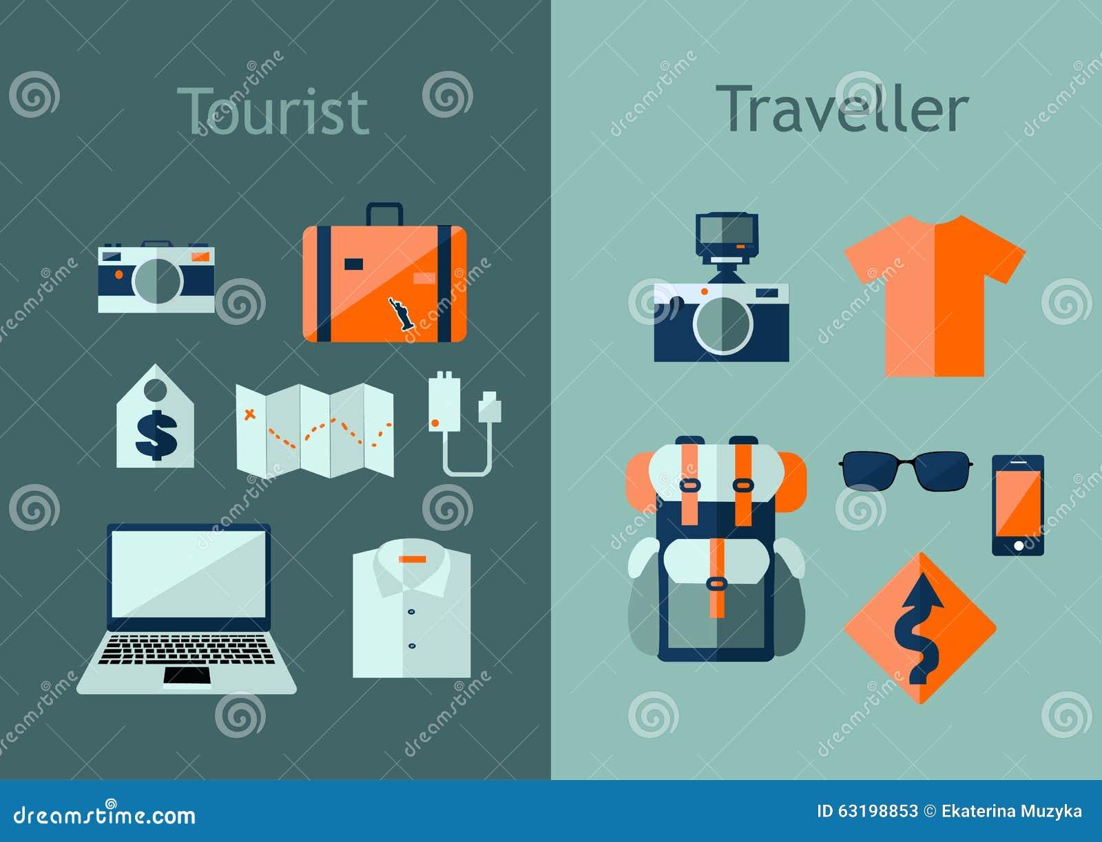 Ensemble d icônes de voyage dans le style plat Concept de plan de voyage Dirigez l illustration avec des éléments de conception,