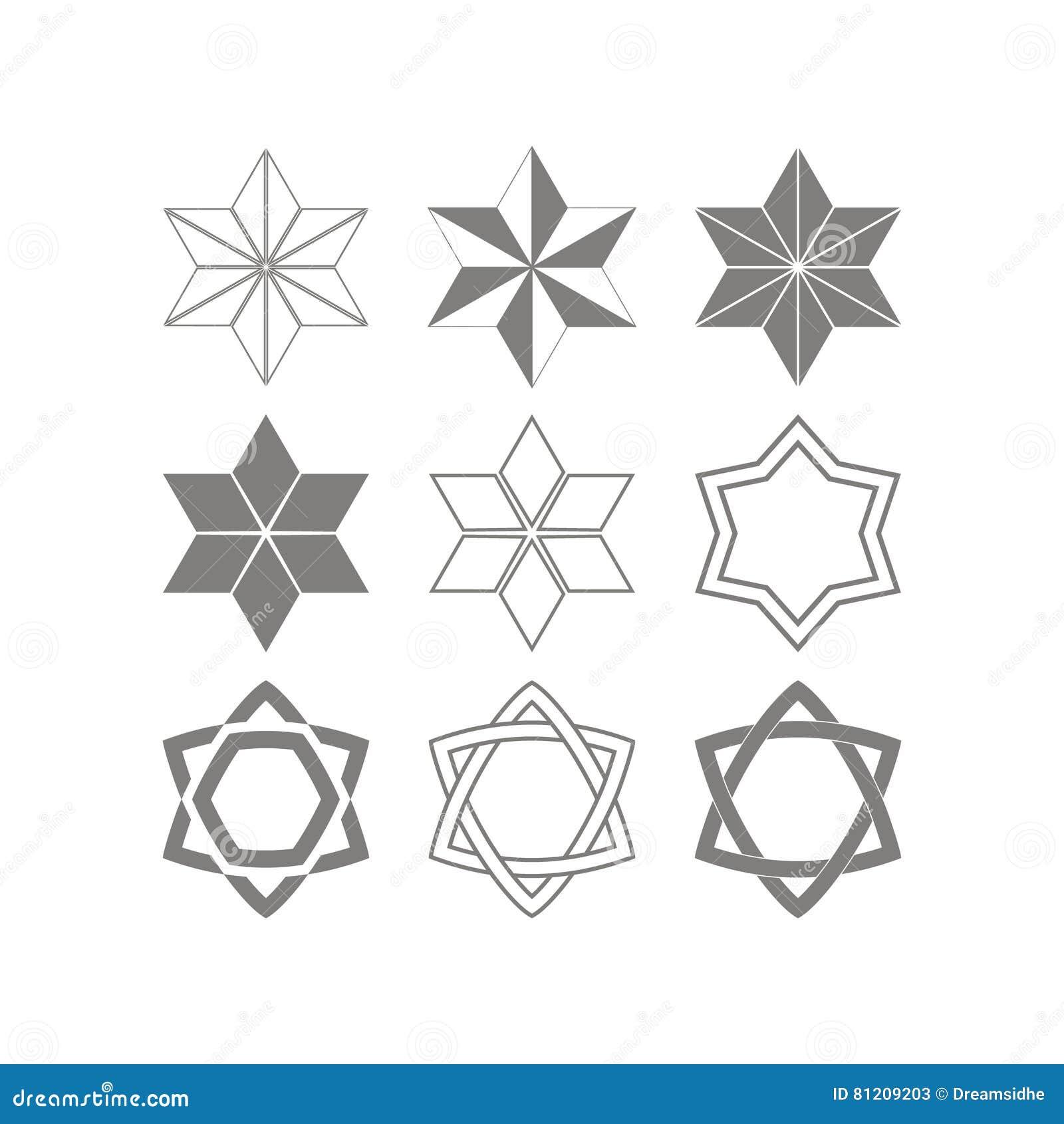 Ensemble d icônes monochromes avec le symbole juif traditionnel d étoile de David