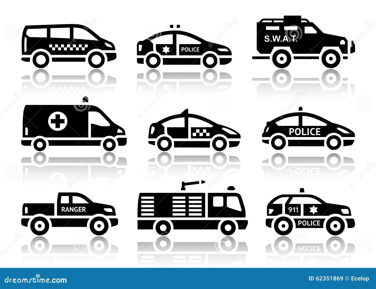 Ensemble d icônes noires d automobiles de service