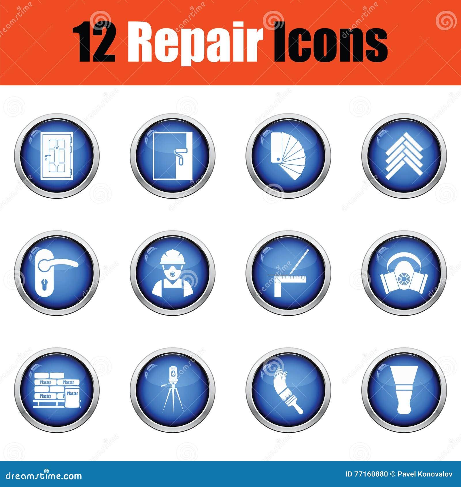 Ensemble d icônes plates de réparation Illustration de vecteur