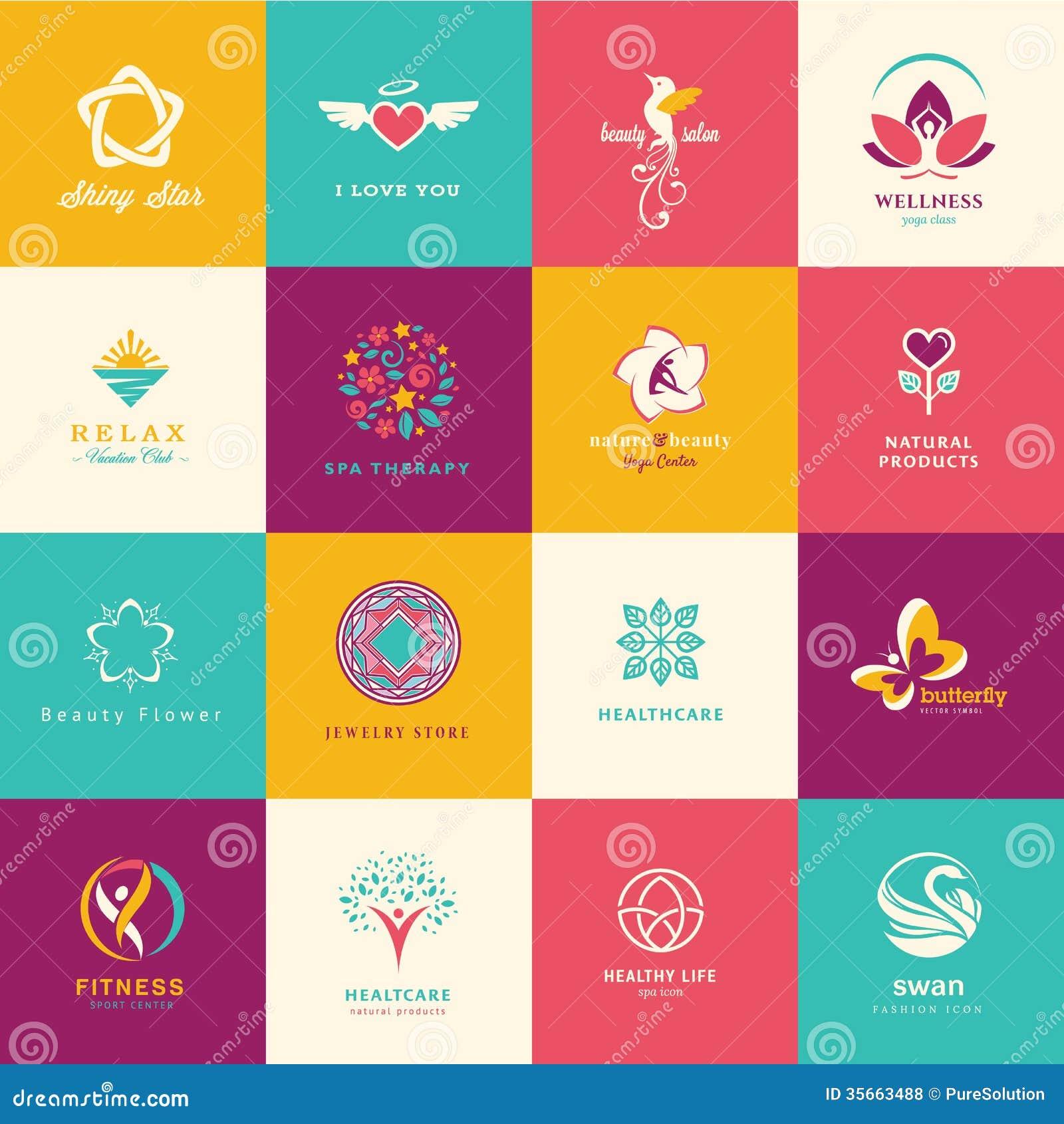 Ensemble d icônes plates pour la beauté, soins de santé, bien-être