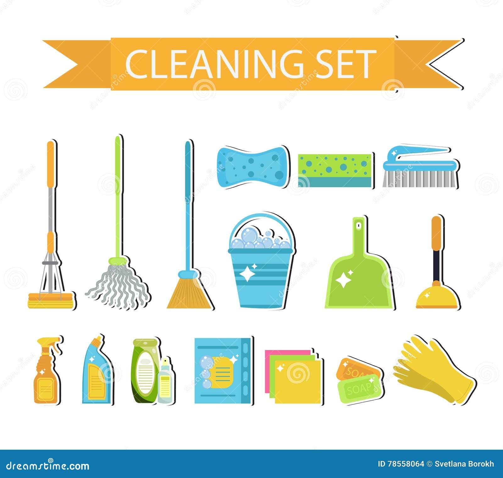 ensemble d 39 ic nes pour les outils de nettoyage nettoyage de chambre alimentations stabilis es. Black Bedroom Furniture Sets. Home Design Ideas