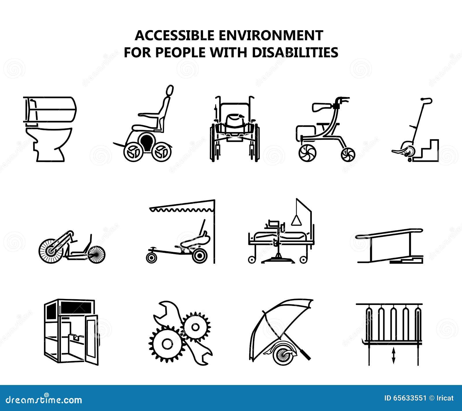 Ensemble d icônes sur l environnement accessible pour des personnes handicapées