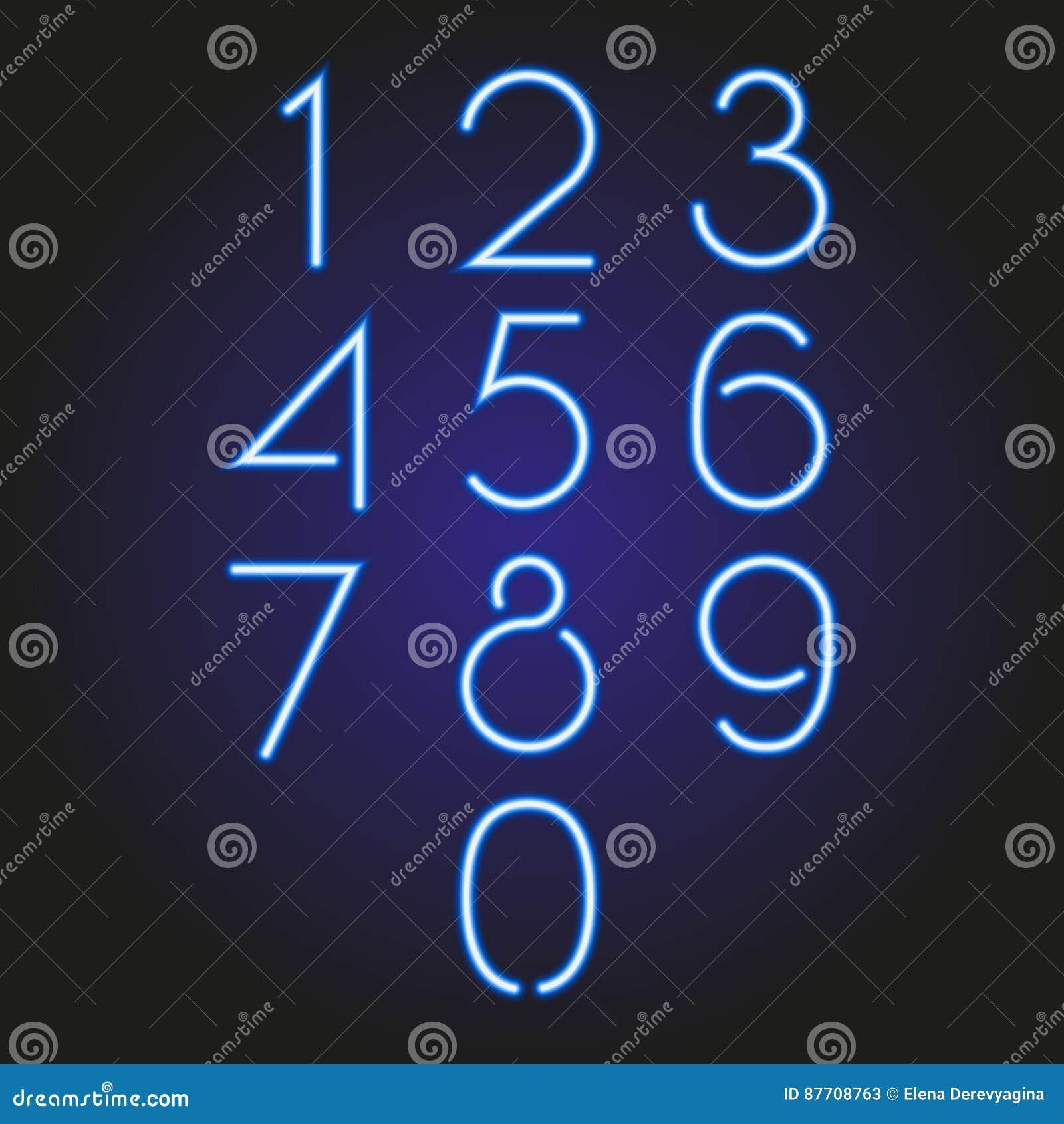 Ensemble d illustration bleue au néon rougeoyante de nombres