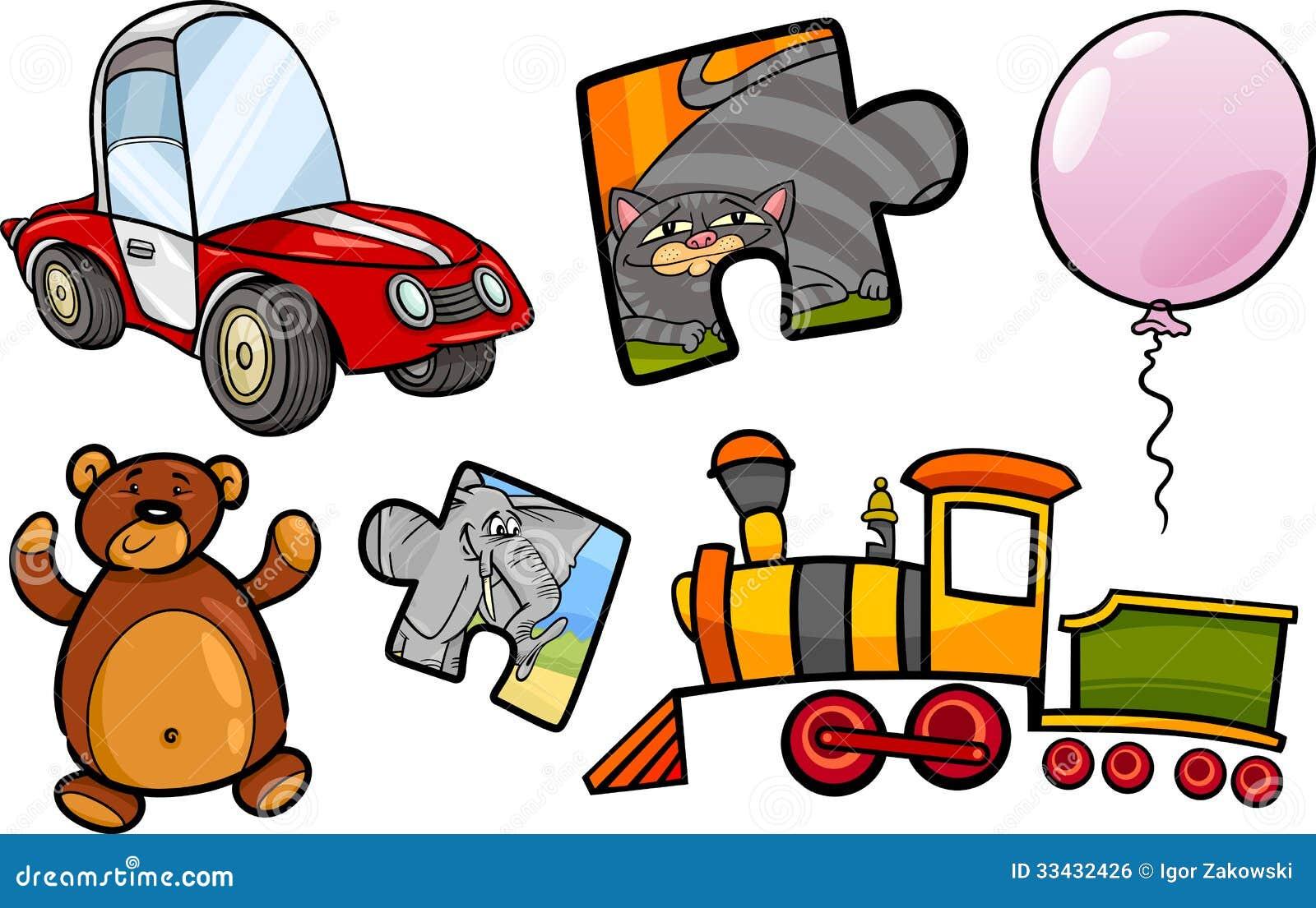 Ensemble d illustration de bande dessinée d objets de jouets