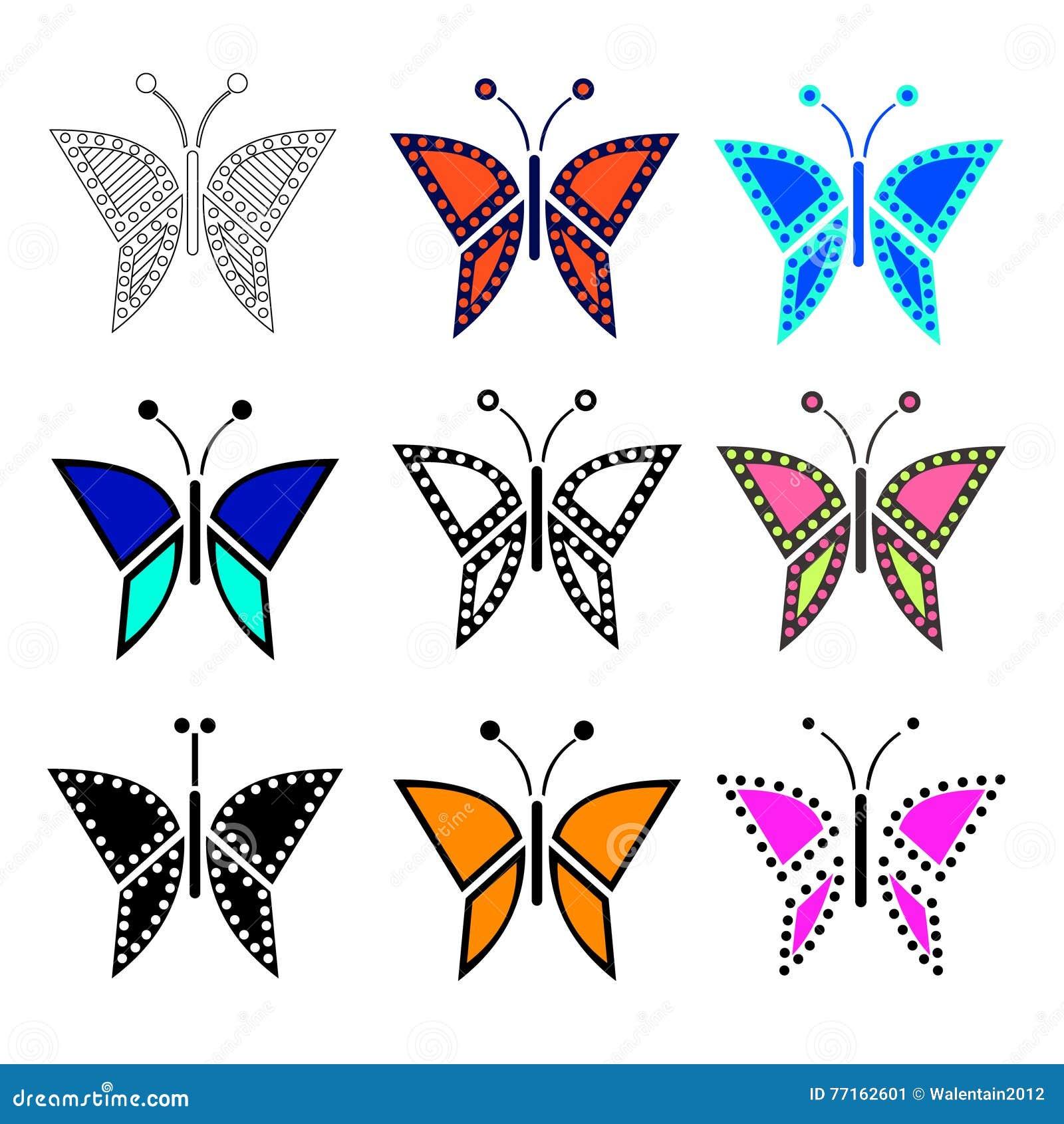 Ensemble d illustration de vecteur d insecte, papillons colorés