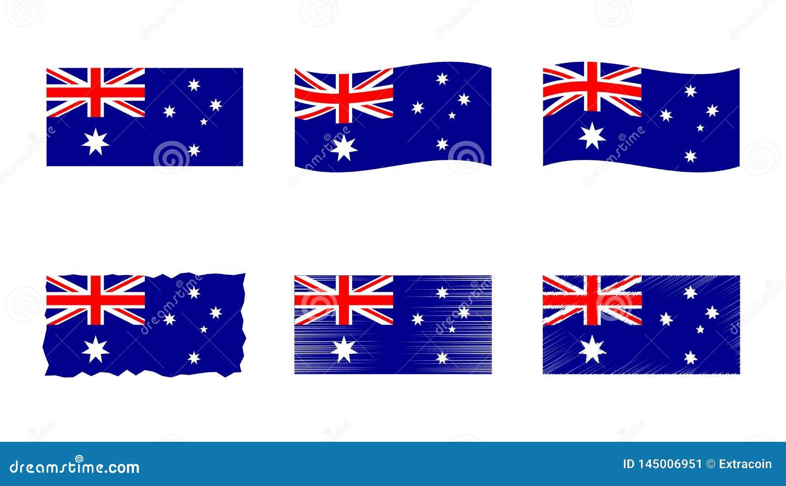 Ensemble d illustration de vecteur de drapeau de l Australie, couleurs officielles de Commonwealth de drapeau de l Australie