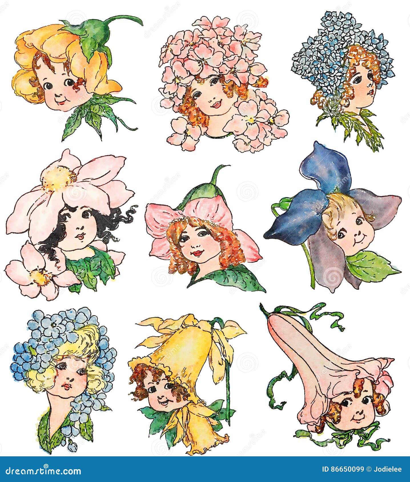 Ensemble d illustrations de fée de fleur de style de vintage