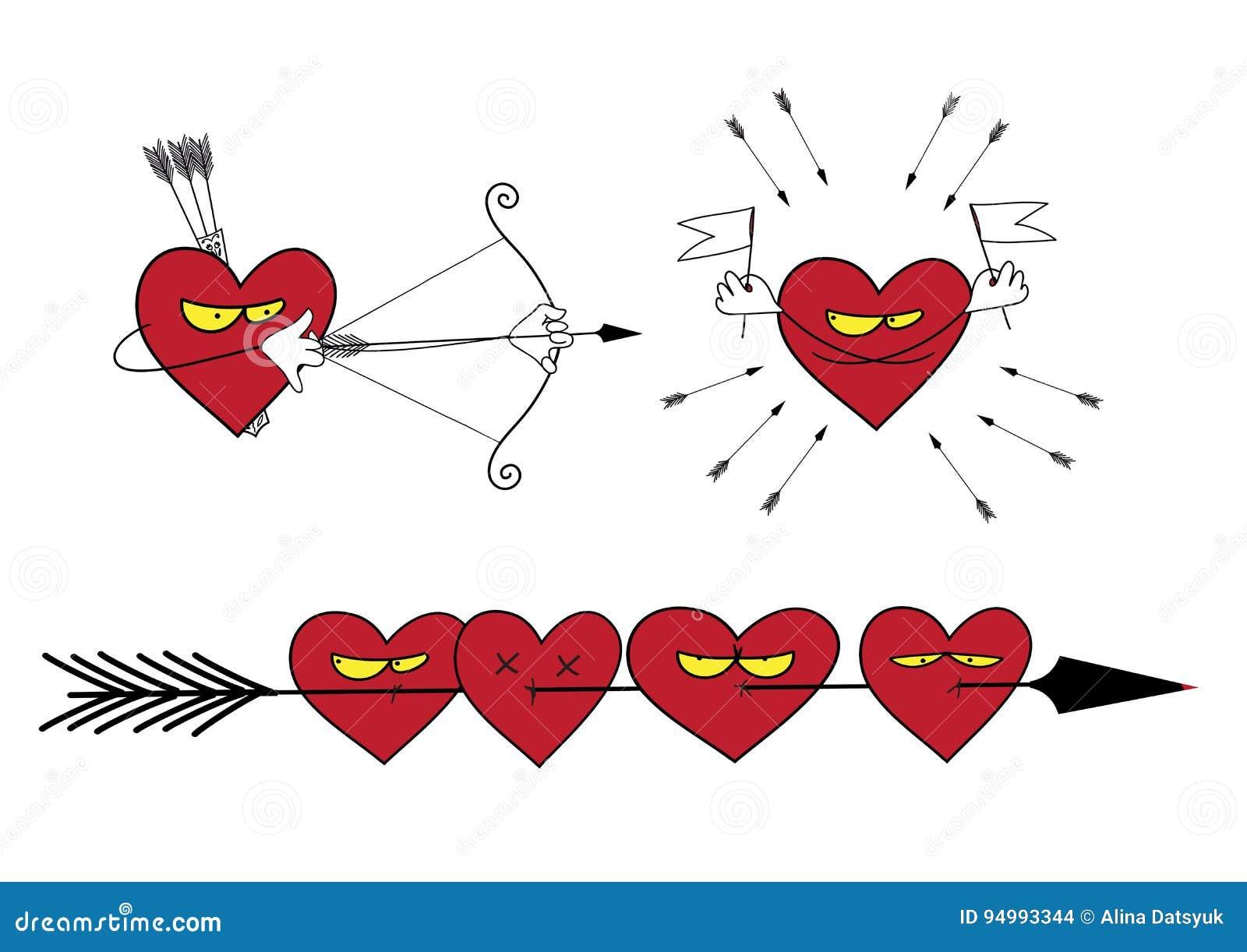 Ensemble d illustrations de vecteur sur le thème d amour