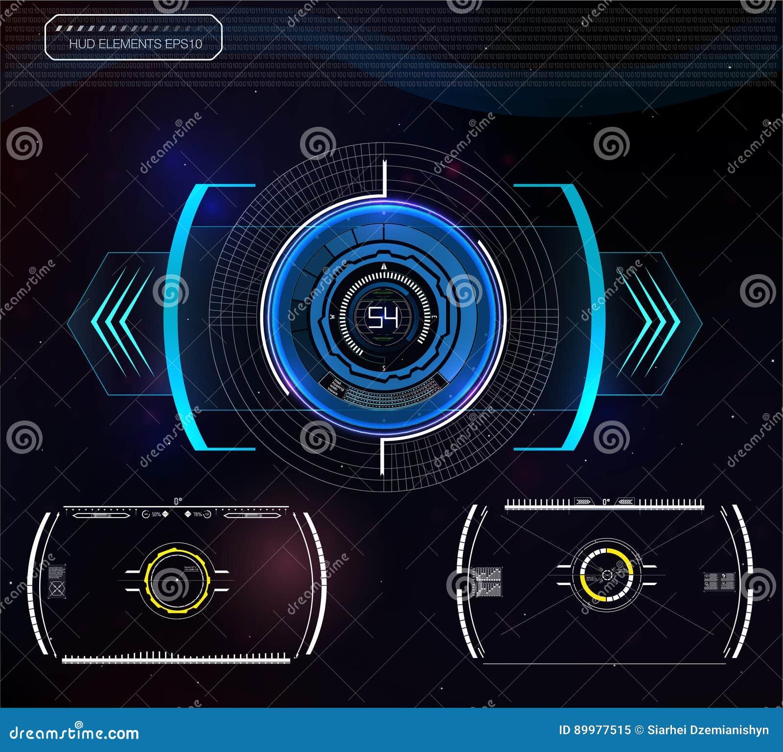 Ensemble d infographics bleu futuriste en tant qu affichage à lecture tête haute Montrez les éléments de navigation pour le Web e