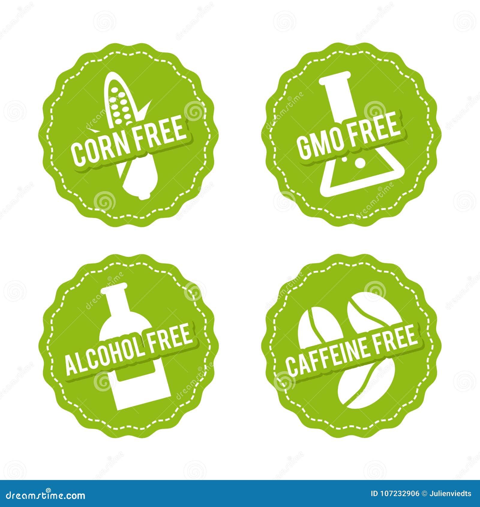 Ensemble d insignes gratuits d allergène Maïs gratuit, GMO gratuit, sans alcool, décaféiné Signes tirés par la main de vecteur Pe