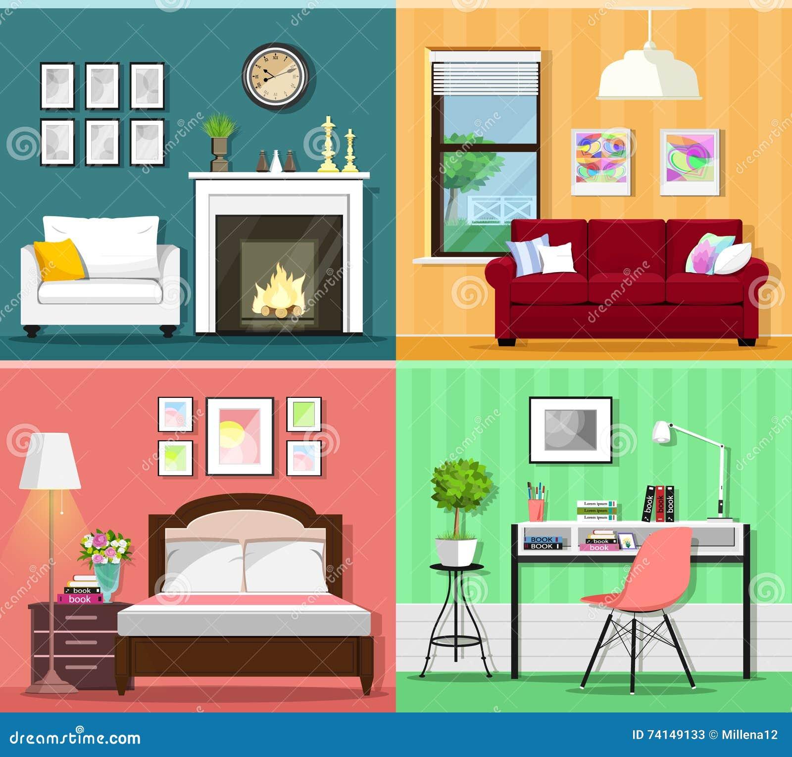 Ensemble d intérieurs graphiques colorés de pièce avec des icônes de meubles : siège de salons, de chambre à coucher et social Il